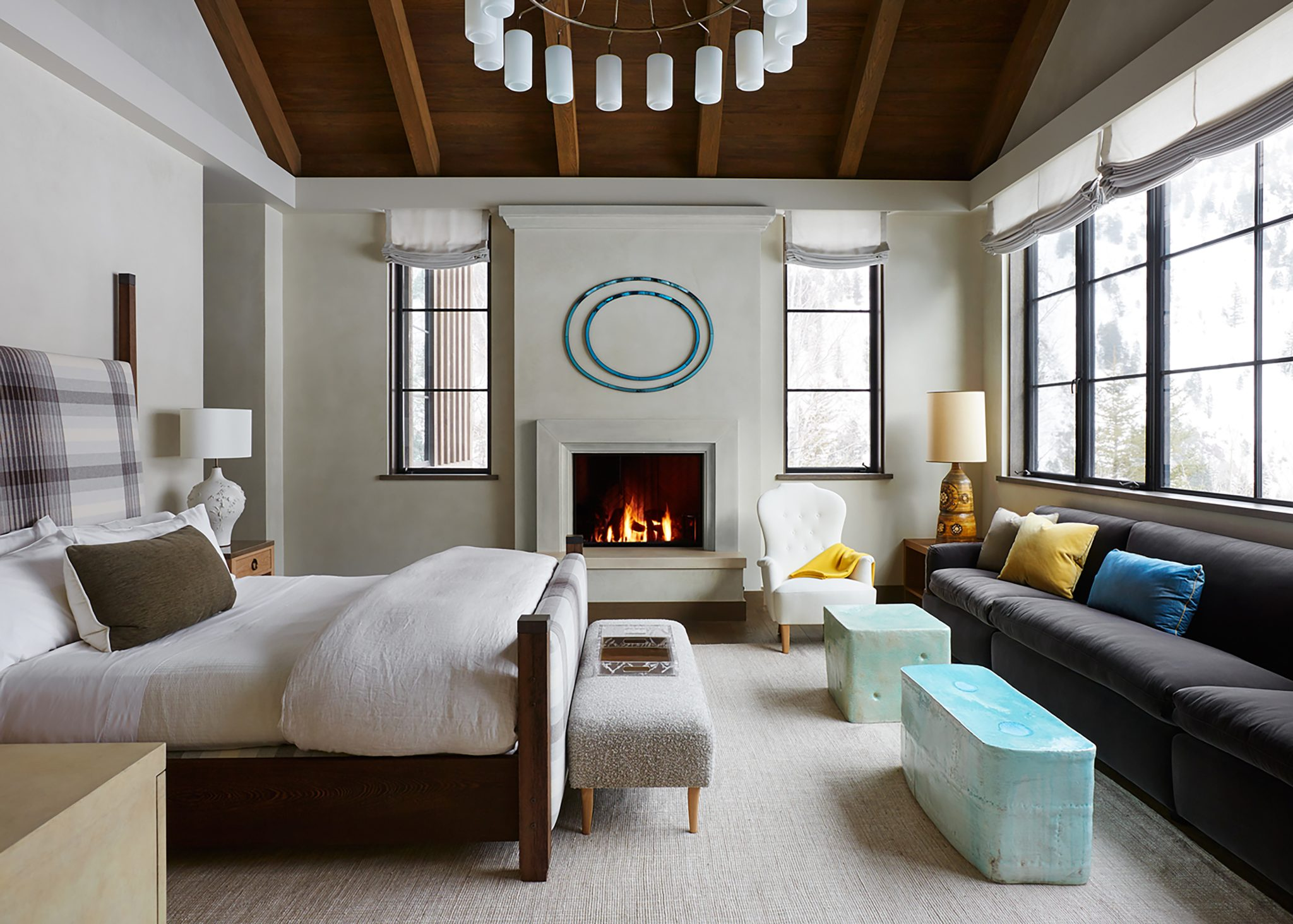 Master bedroom in Aspen, Colorado, by BK Interior Design