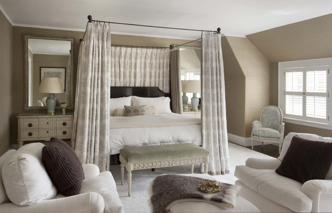 Serene master bedroom with canopy bed and Swedish furniture by Kristin Paton Interiors