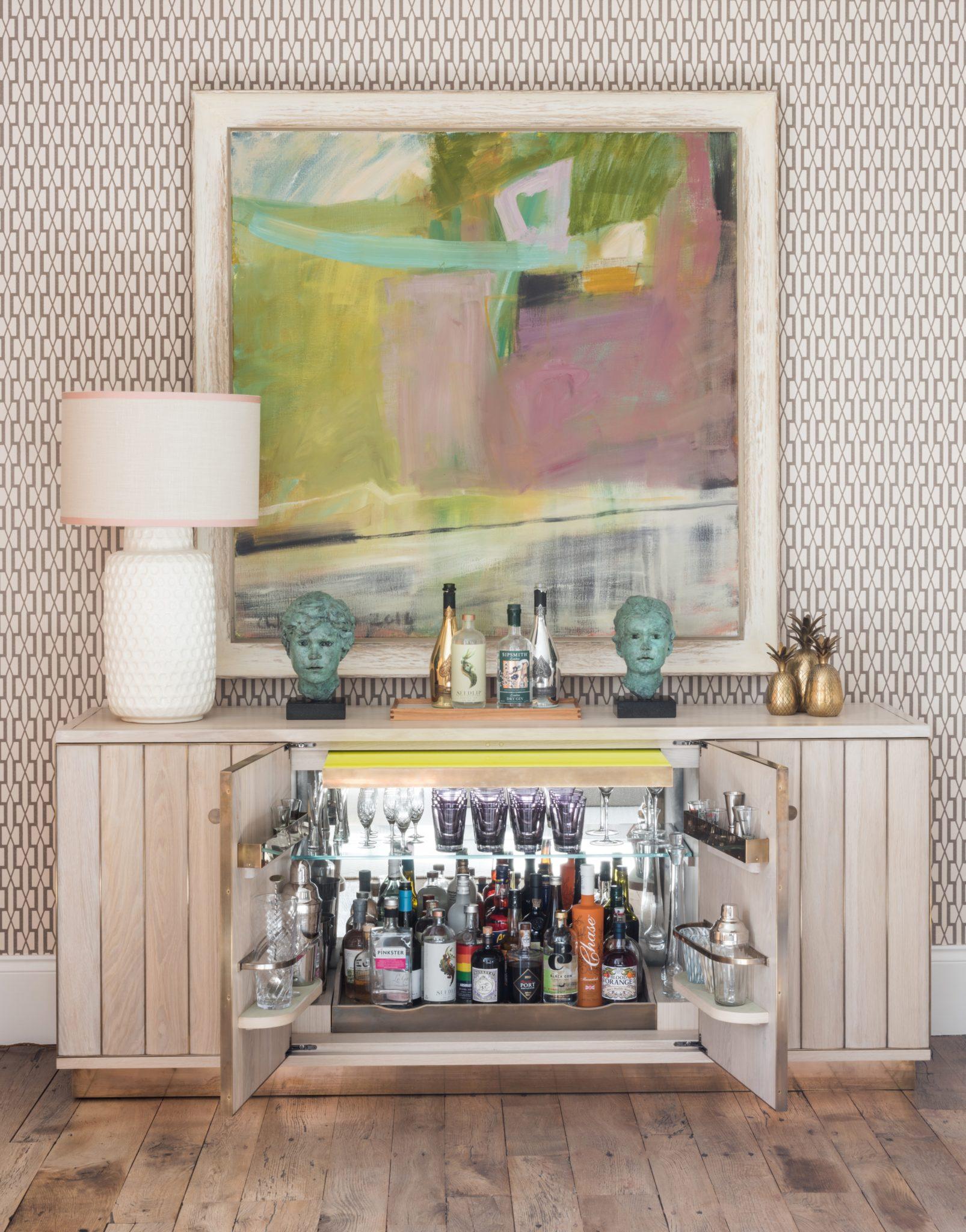 Low Cocktail Cabinet in Limed Oak (Open) by Rupert Bevan Ltd