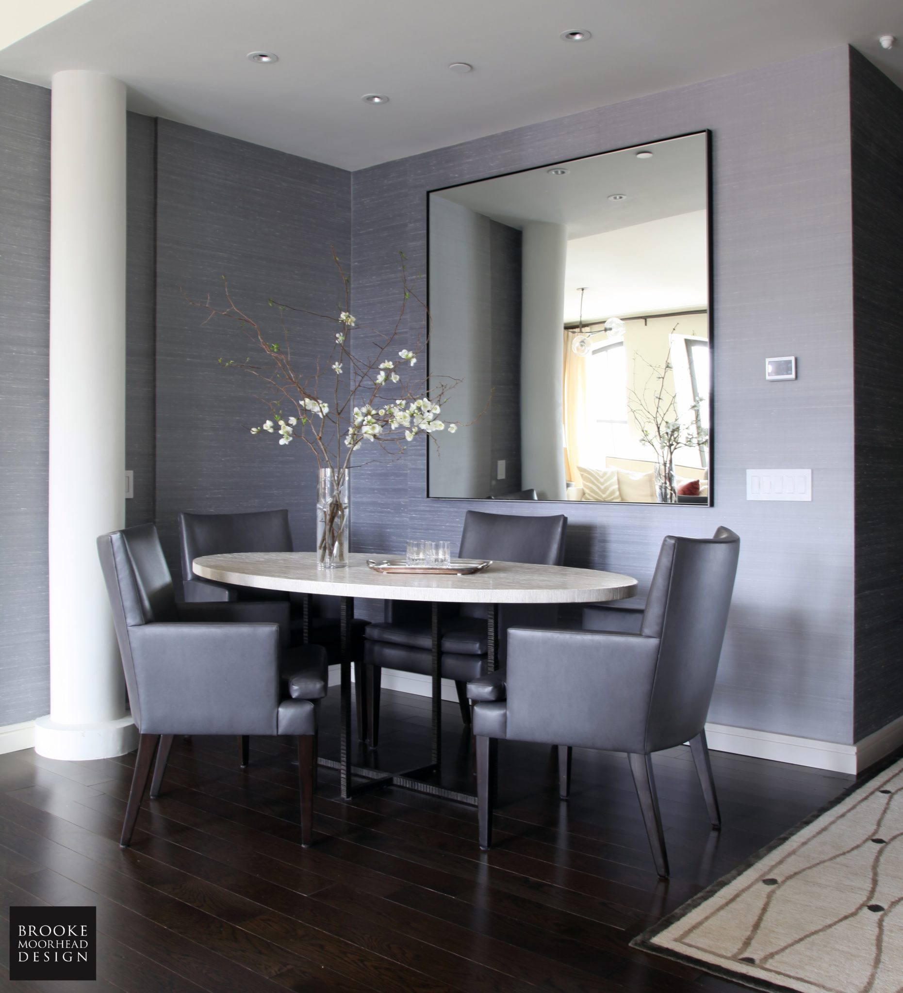 Tribeca Contemporary: Dining Alcove with Oversized Mirror & Custom Dining Table by Brooke Moorhead Design