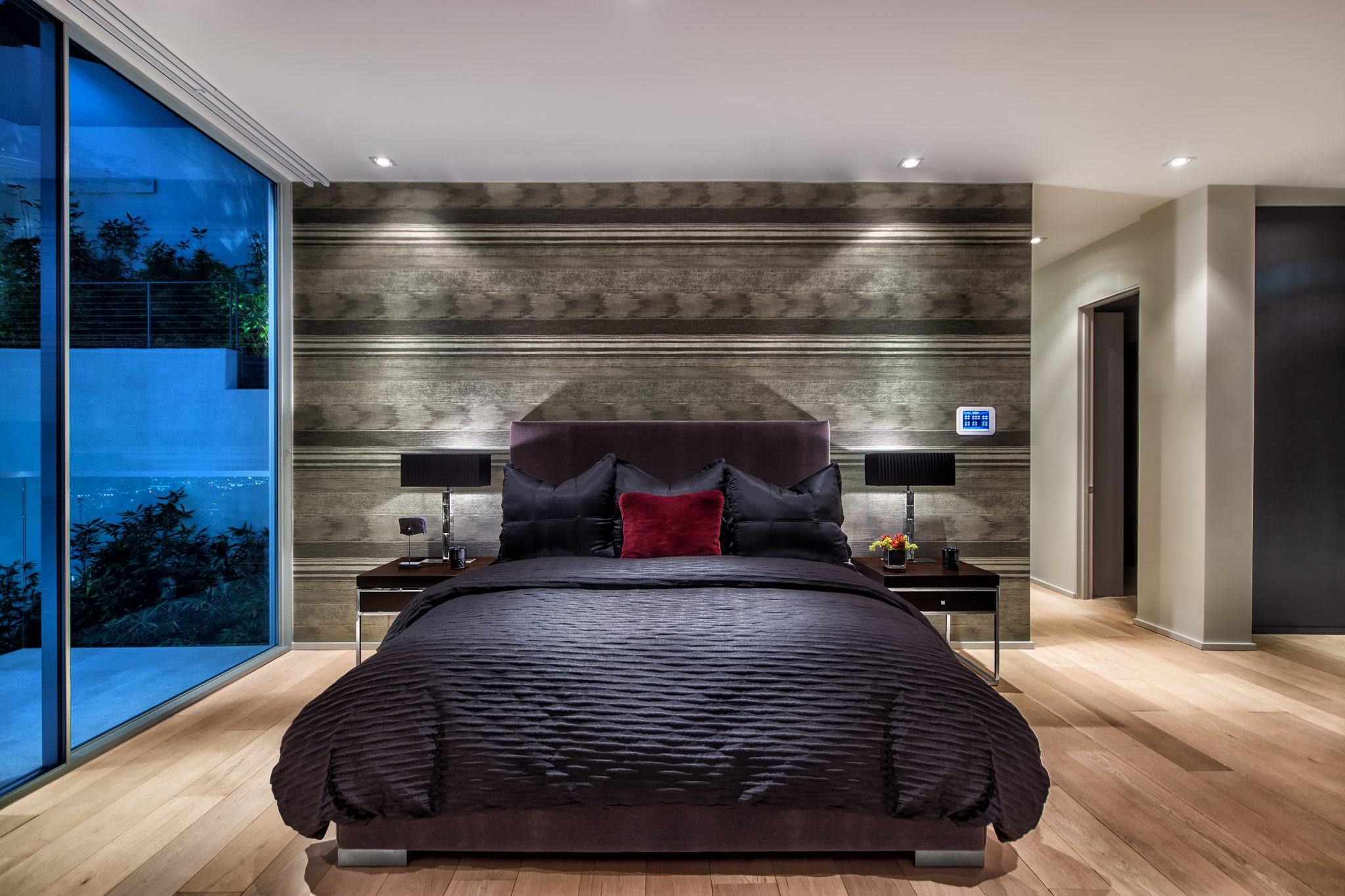 Hollywood Hills Master Bedroom with Custom Mohair Bed by Payton Addison Interior Design Atelier