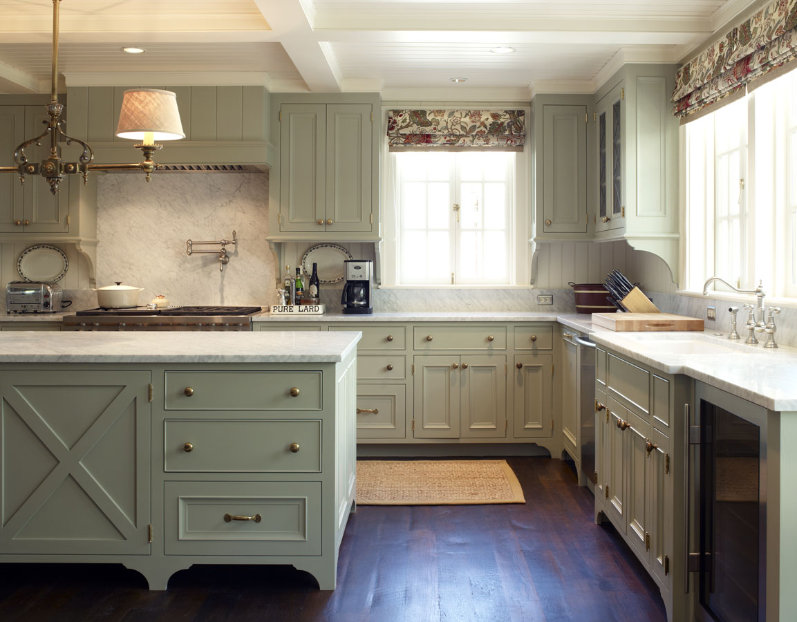 Custom English farmhouse-inspired kitchen for a country house by Larry Hooke Interior Design