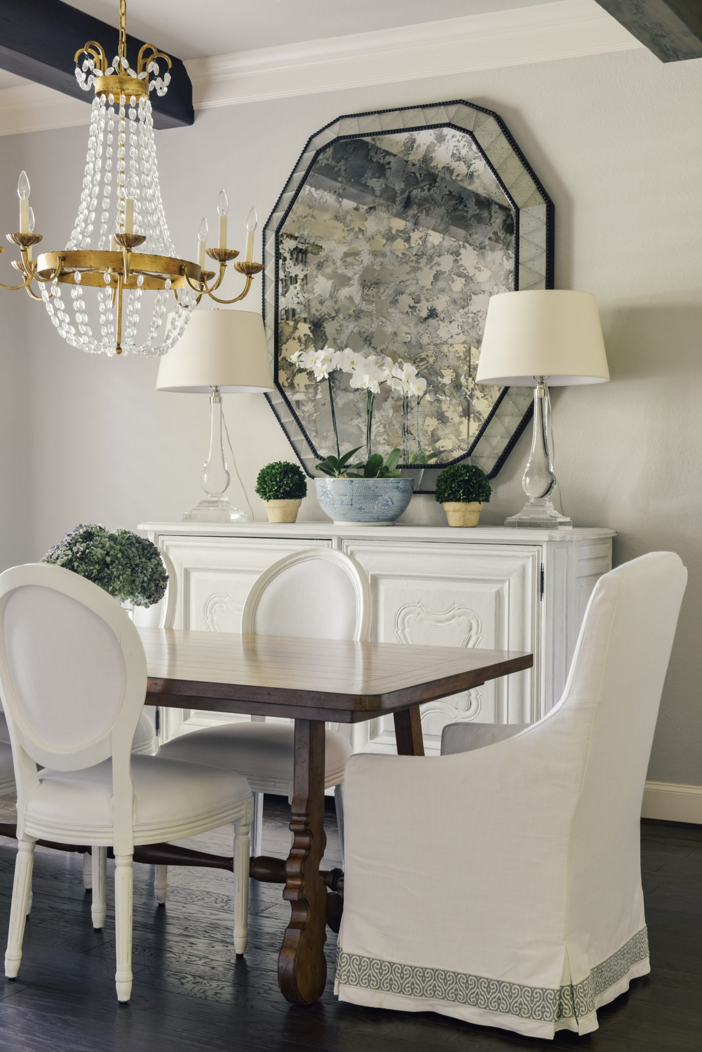 Houston Dining Room, French Country, Traditional, Antique Mirror, Louis Chairs by Paloma Contreras Design