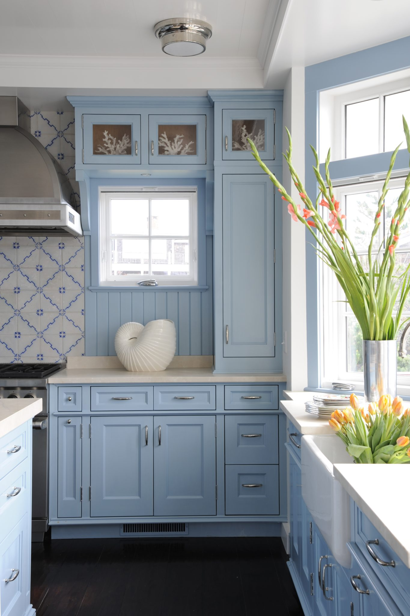 A Bright Blue Kitchen by Allison Caccoma, Inc.