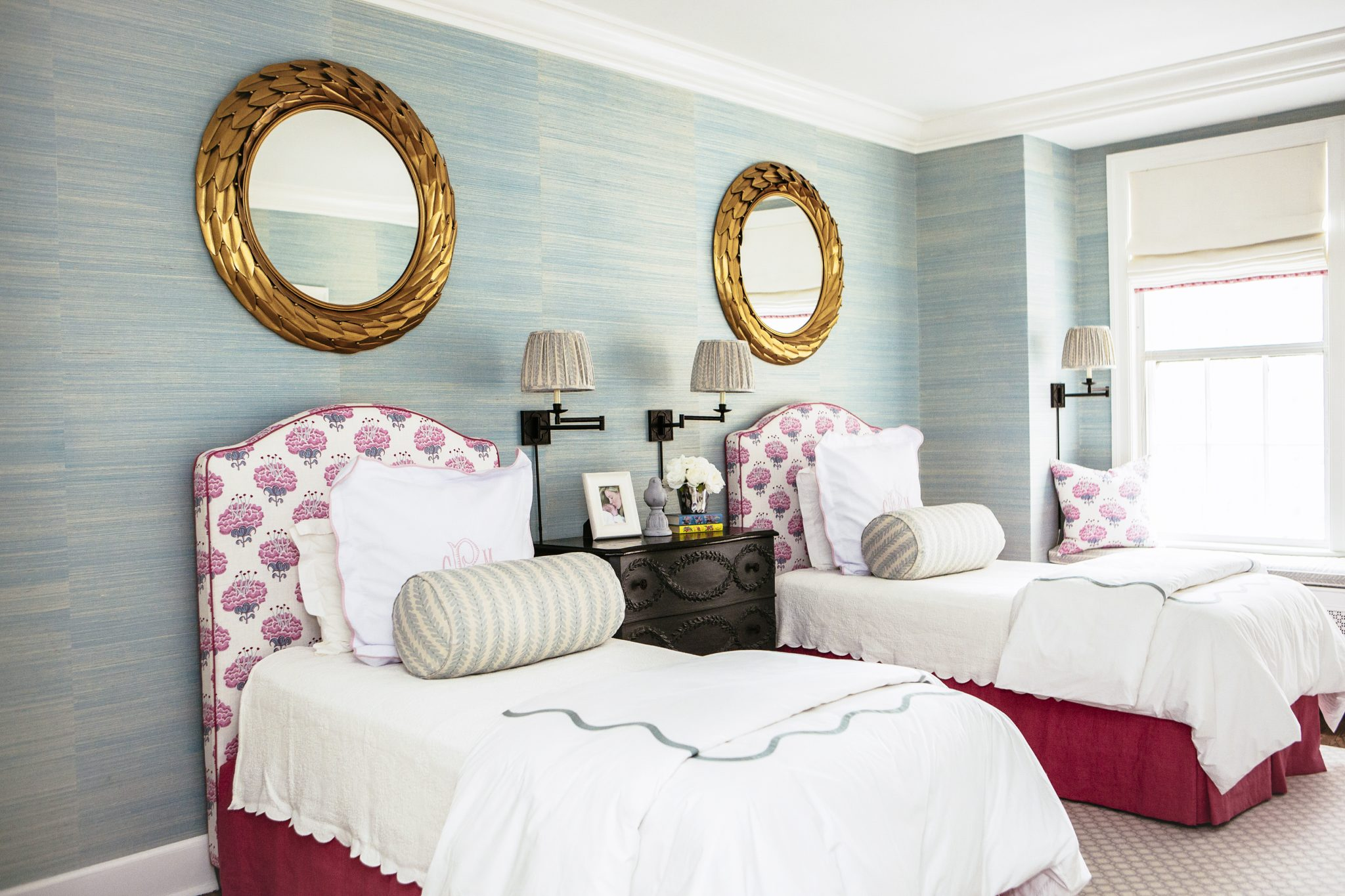 Sophisticated Girl's Room with Blue Grasscloth Wallpaper by M and M Interior Design