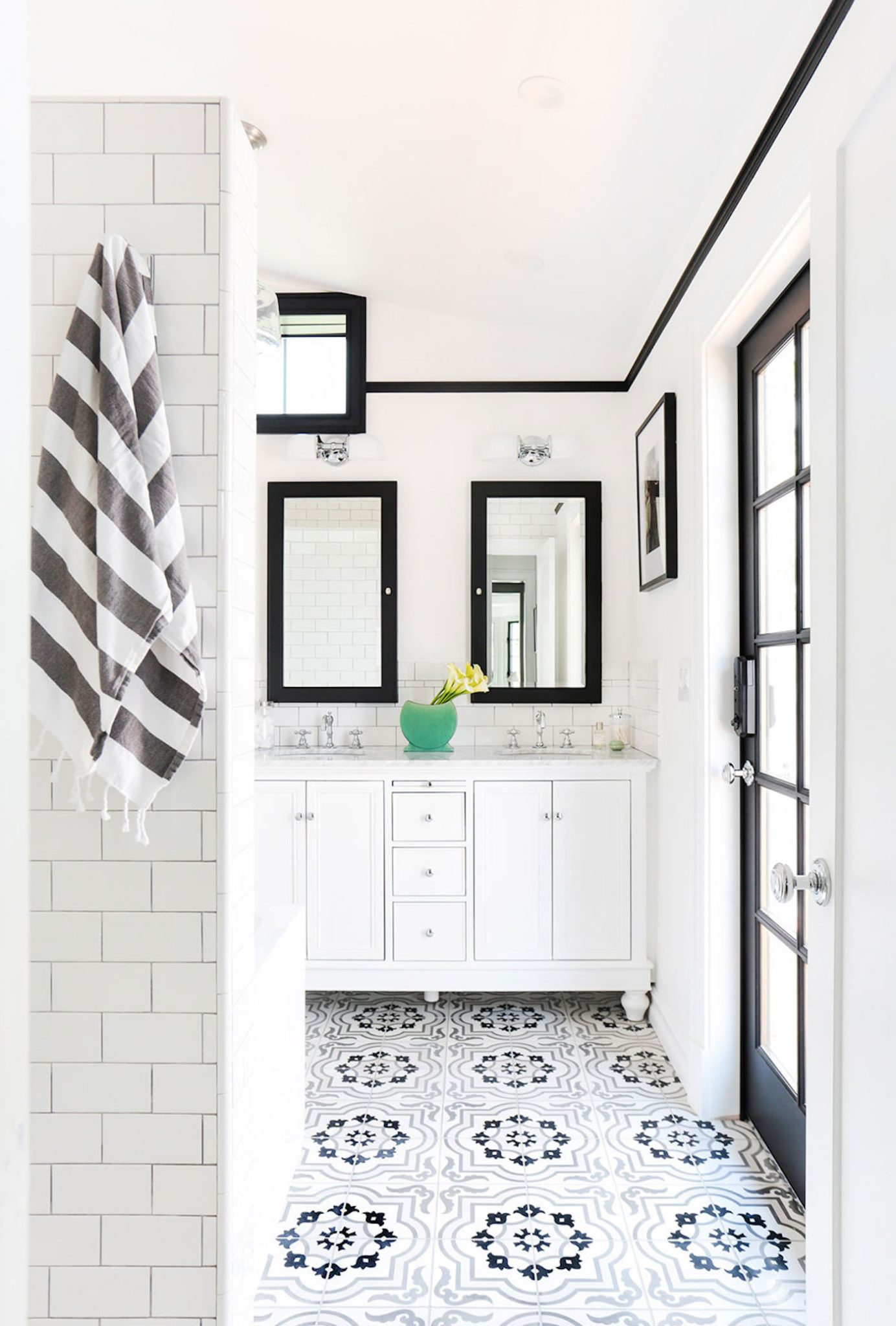 Full home renovation master bath redesign with apothecary cement tile by Stefani Stein Inc.