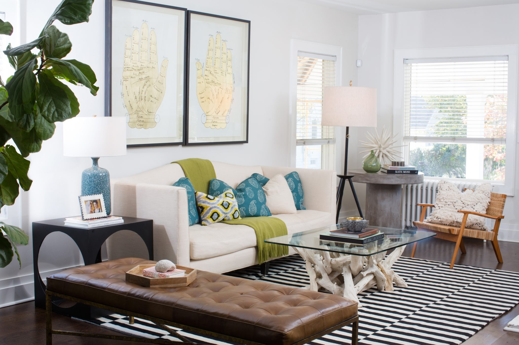 An eclectic mix of materials lends a modern organic feel to this sitting room by BOWERBIRD