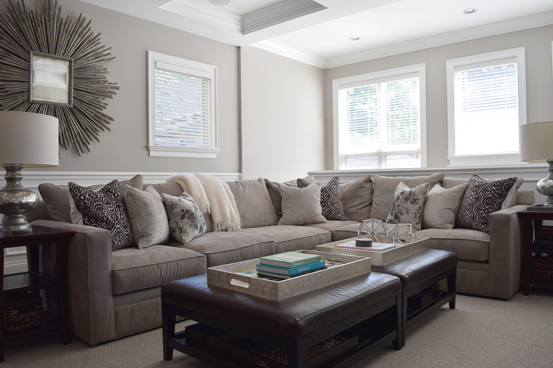 Melrose Streetfamily room - refresh of accessories, pillows andart. By Honsen Interiors