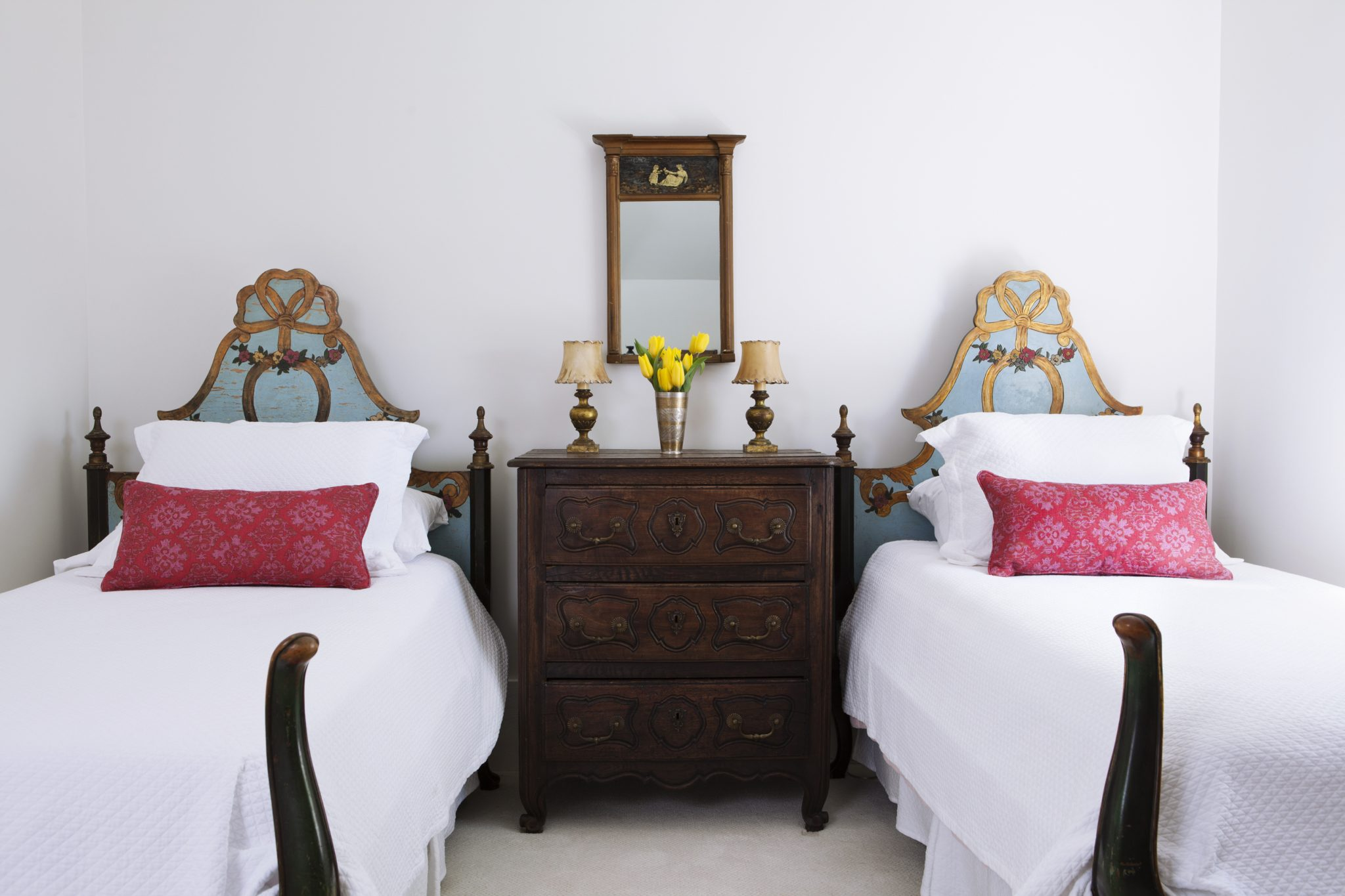 Country house twin bedroom with antique french beds by Sarah Wittenbraker Design