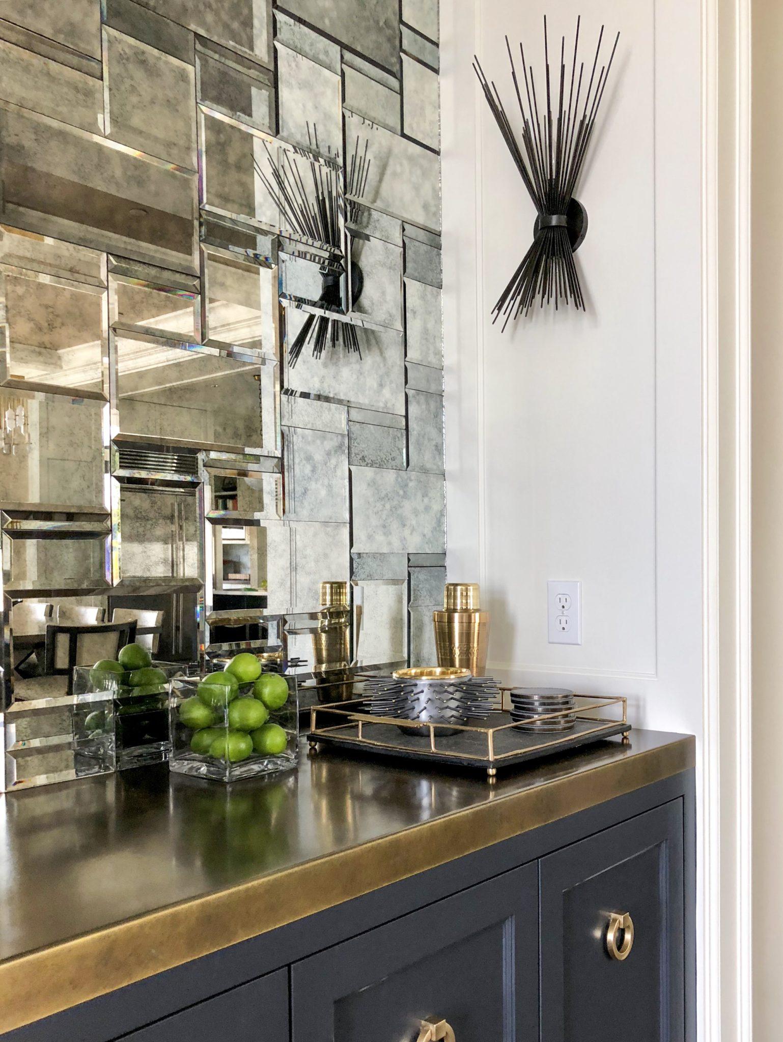 Mercer Island Dry Bar with Brass Countertop and Mosaic Mirror Tile Backsplash by LeeAnn Baker Interiors Ltd.