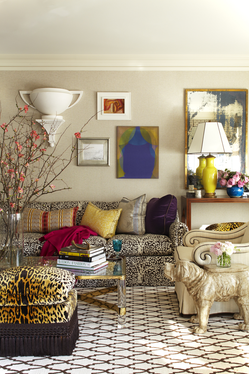 Colorful accessories in an interior by Robert Passal Interior & Architectural Design