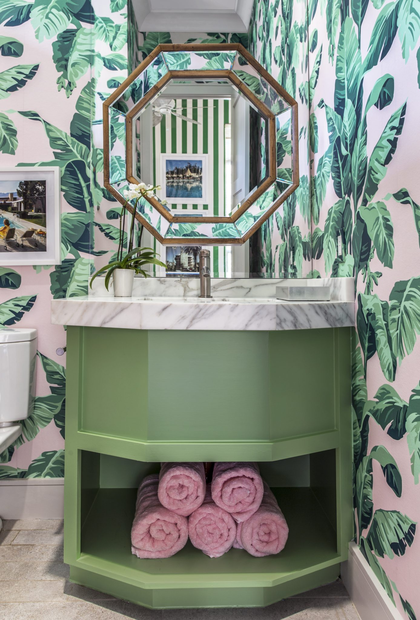 Tanglewood Houston Pool Room Bathroom Inspired by Beverly Hills Hotel by Cindy Witmer Designs