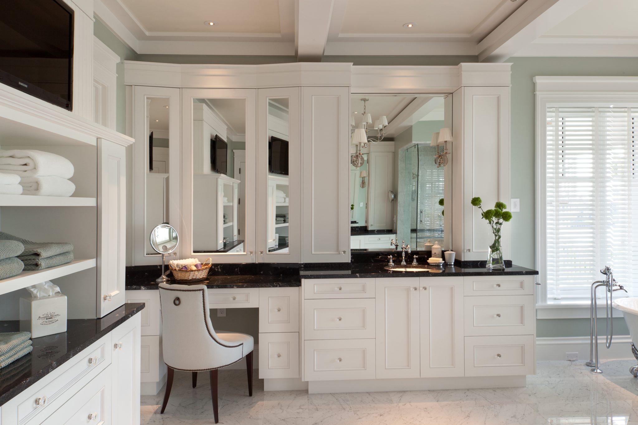 Master en-suite with his and her vanities by CK Interior Design