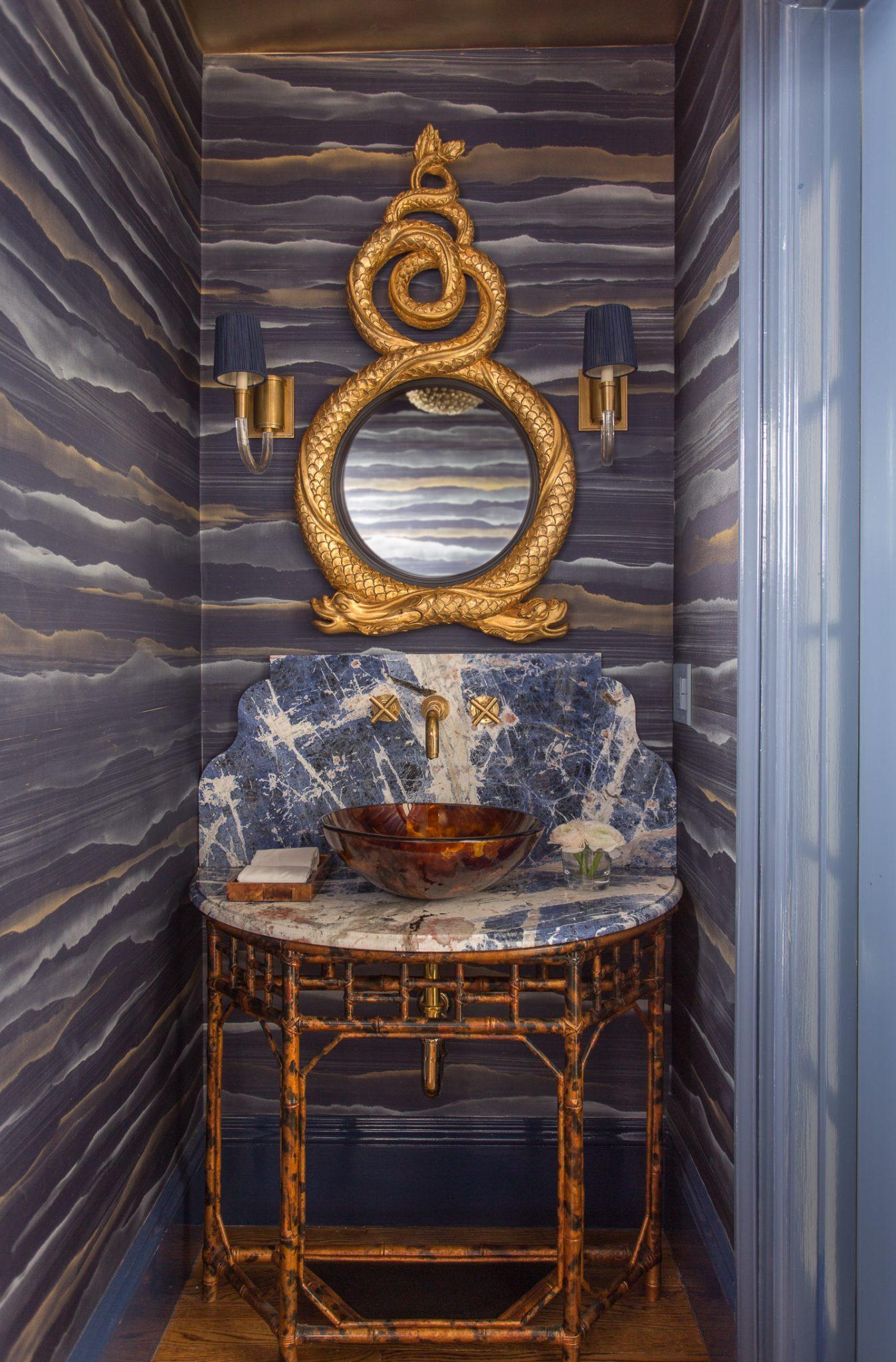 Silk Fromental Walled Powder Room with Gilt Mirror and Custom Tortoiseshell Vanity by Kristin Paton Interiors