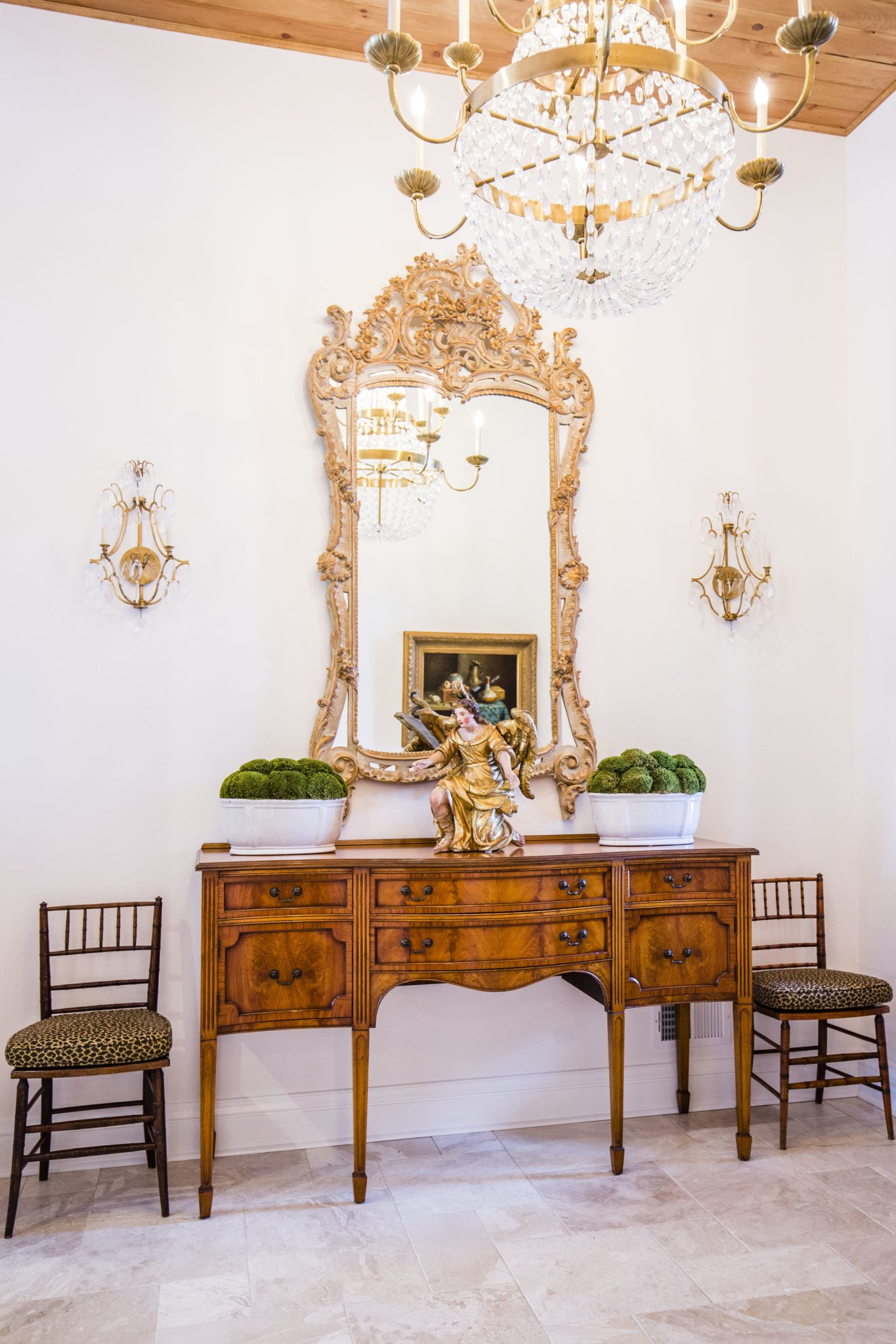 Country French Foyer with Gold Rococo Mirror and Crystal Chandelier by LSM Interior Design