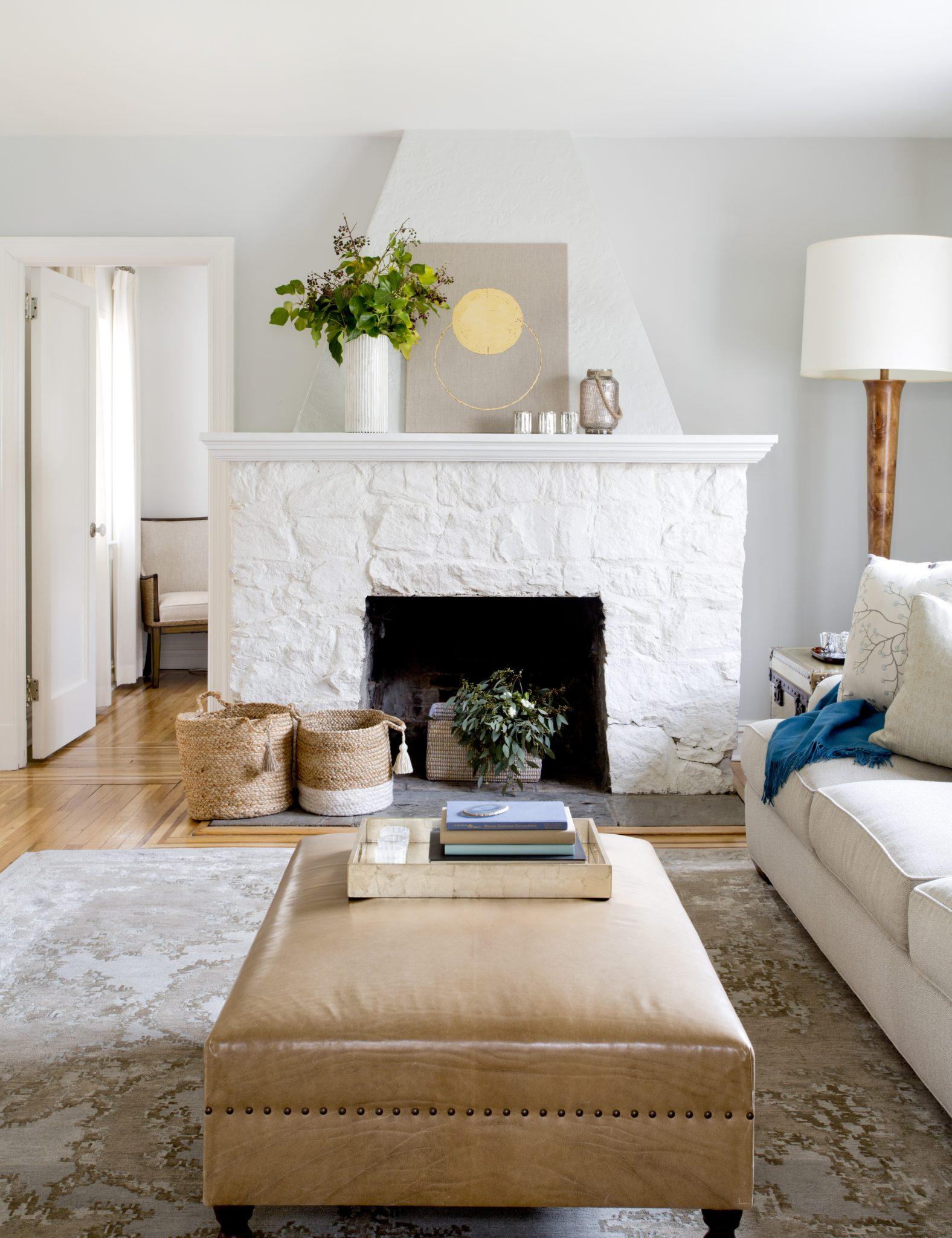 Restored living room in a 1920s tudor cottage - Irvington, New York, by Caroline Kopp Interior Design