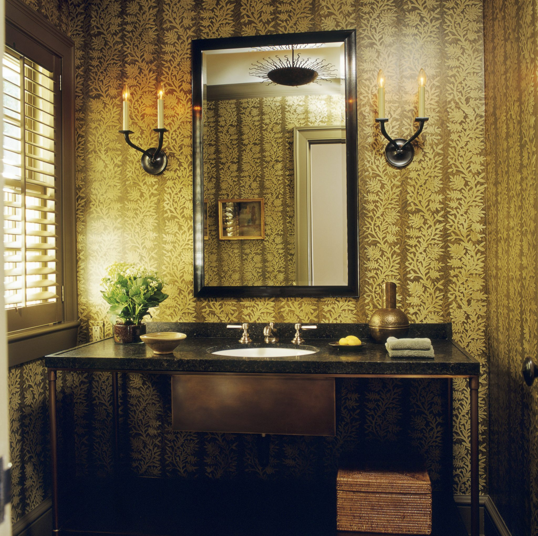 Traditional powder room with hand-blocked wallpaper by Glenn Gissler