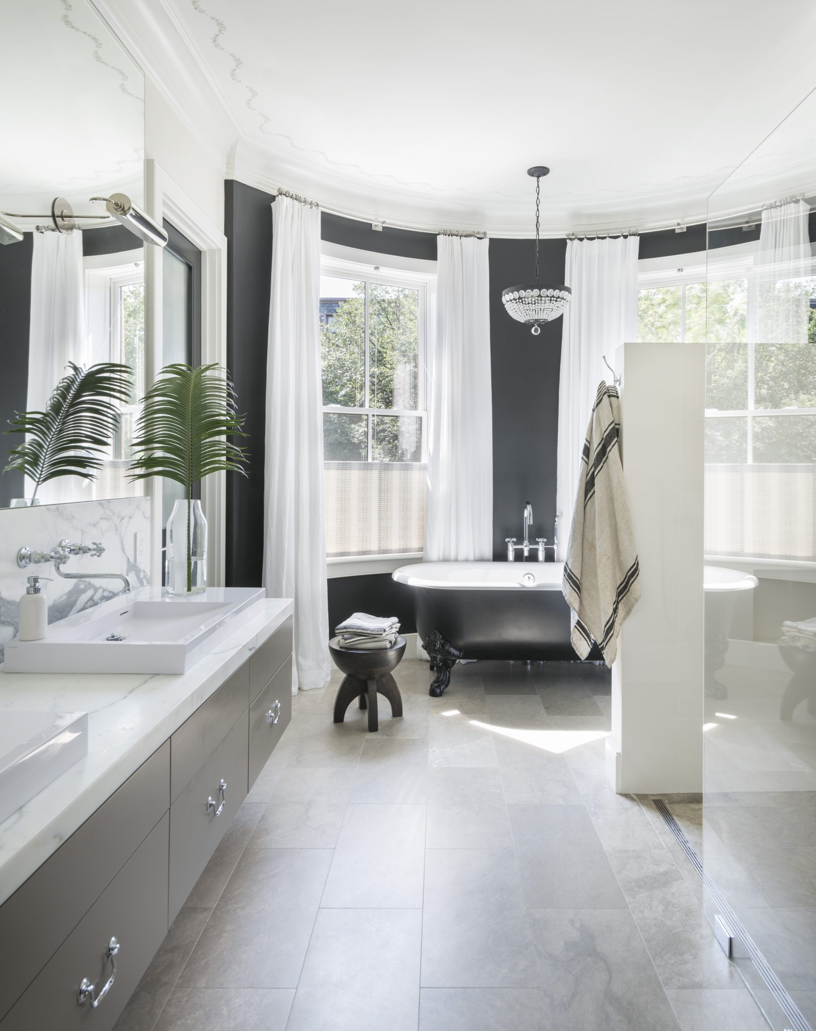 Urban townhouse master bath and dressing room by Koo de Kir Architectural Interiors
