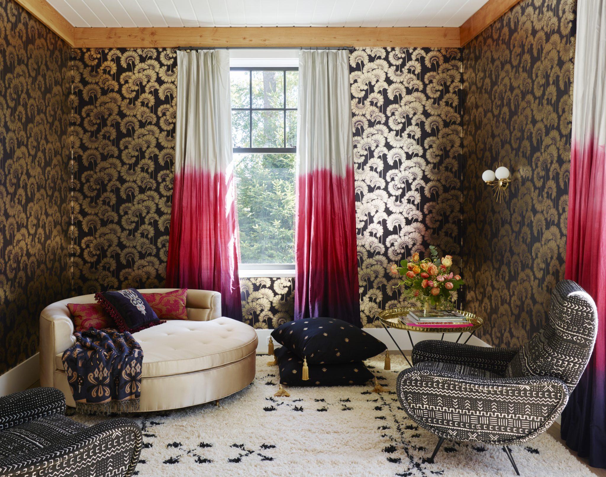 Short Hills Shingle Style Residence Modern Colorful Lounge Metallic Wallpaper by Douglas C. Wright Architects