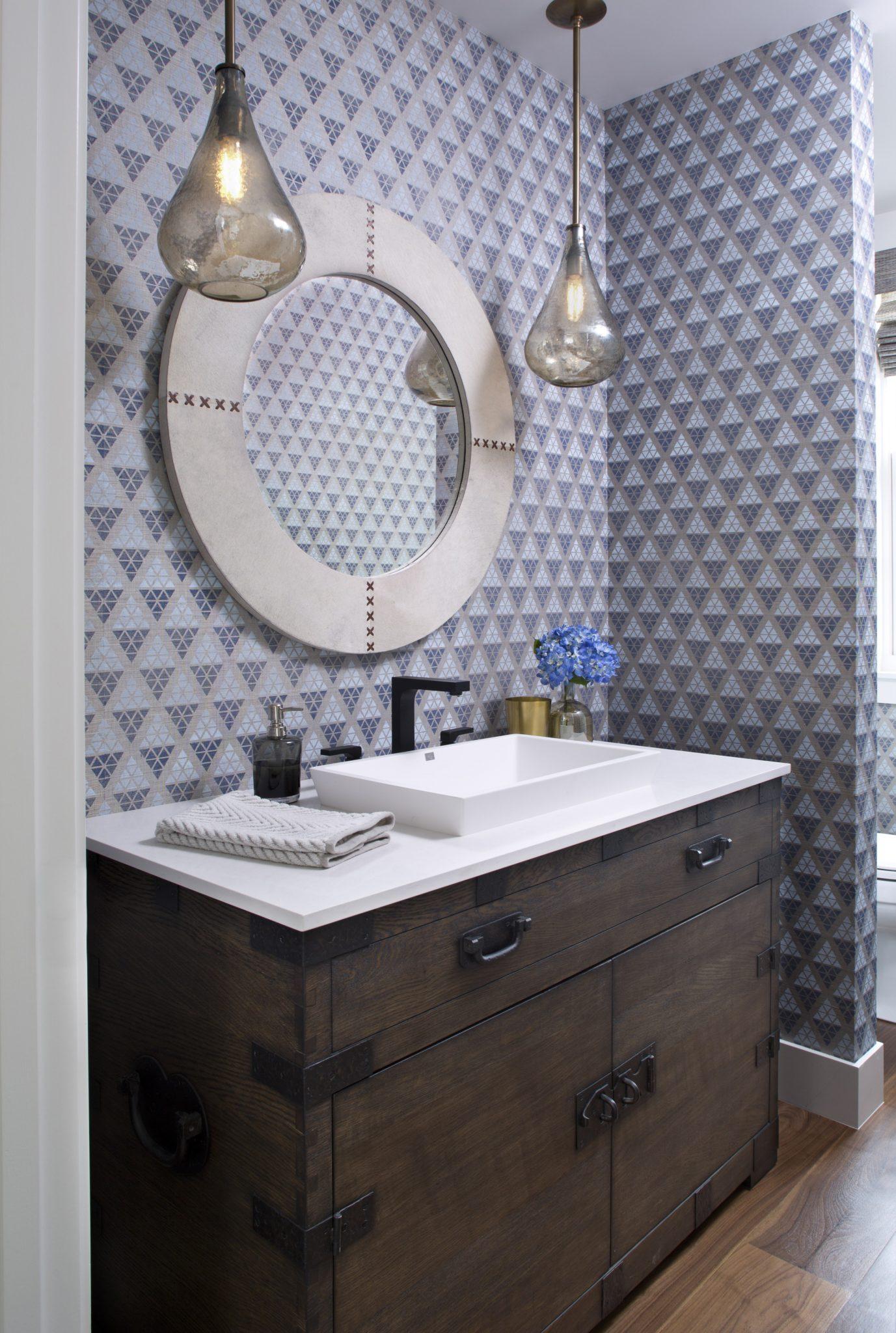 Modern Farmhouse Retreat Powder Room by Ashley Campbell Interior Design