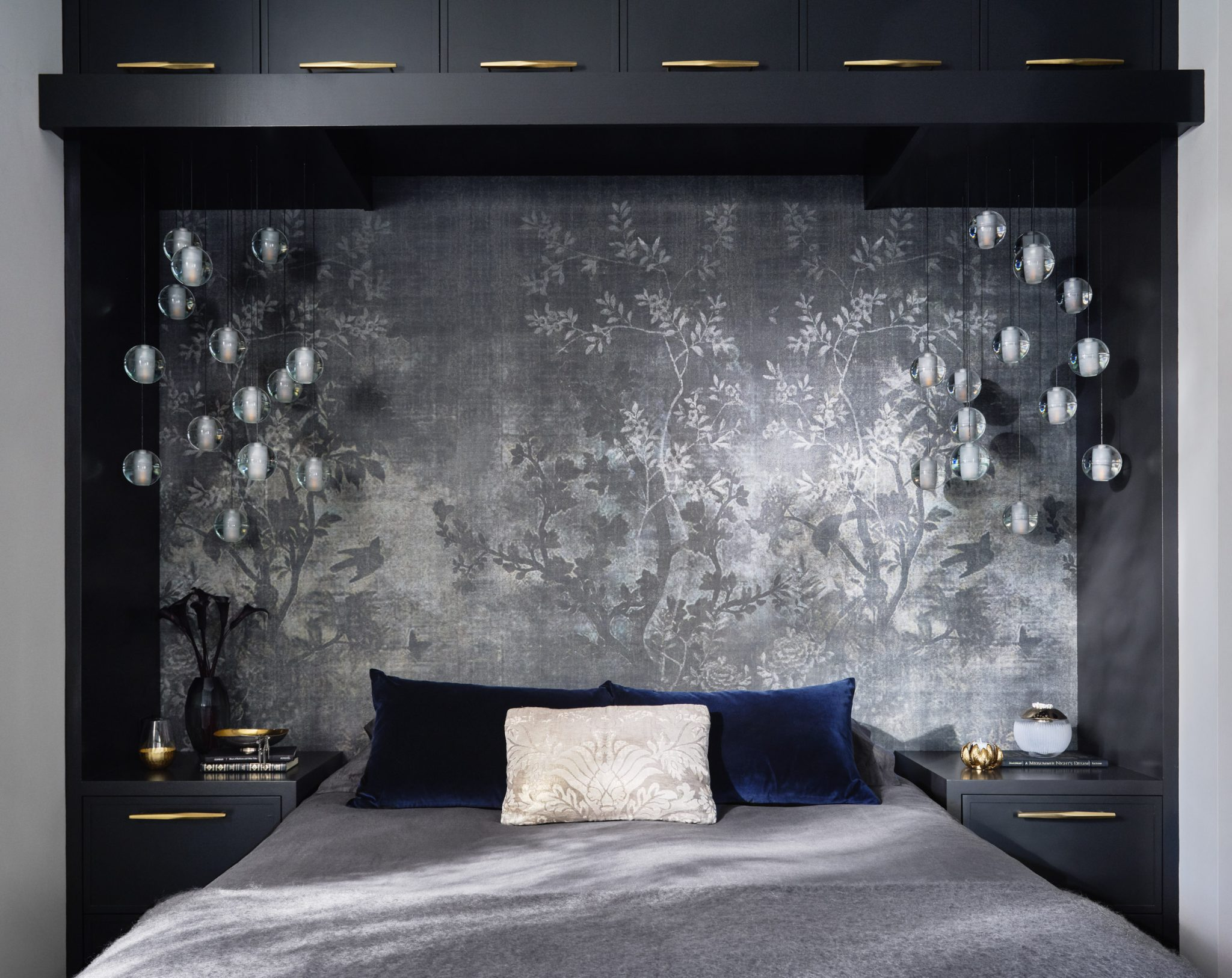 Ashland Midsummers Night Master Bedroom with Wallpaper and Pendant Lights by Suzanne Childress Design