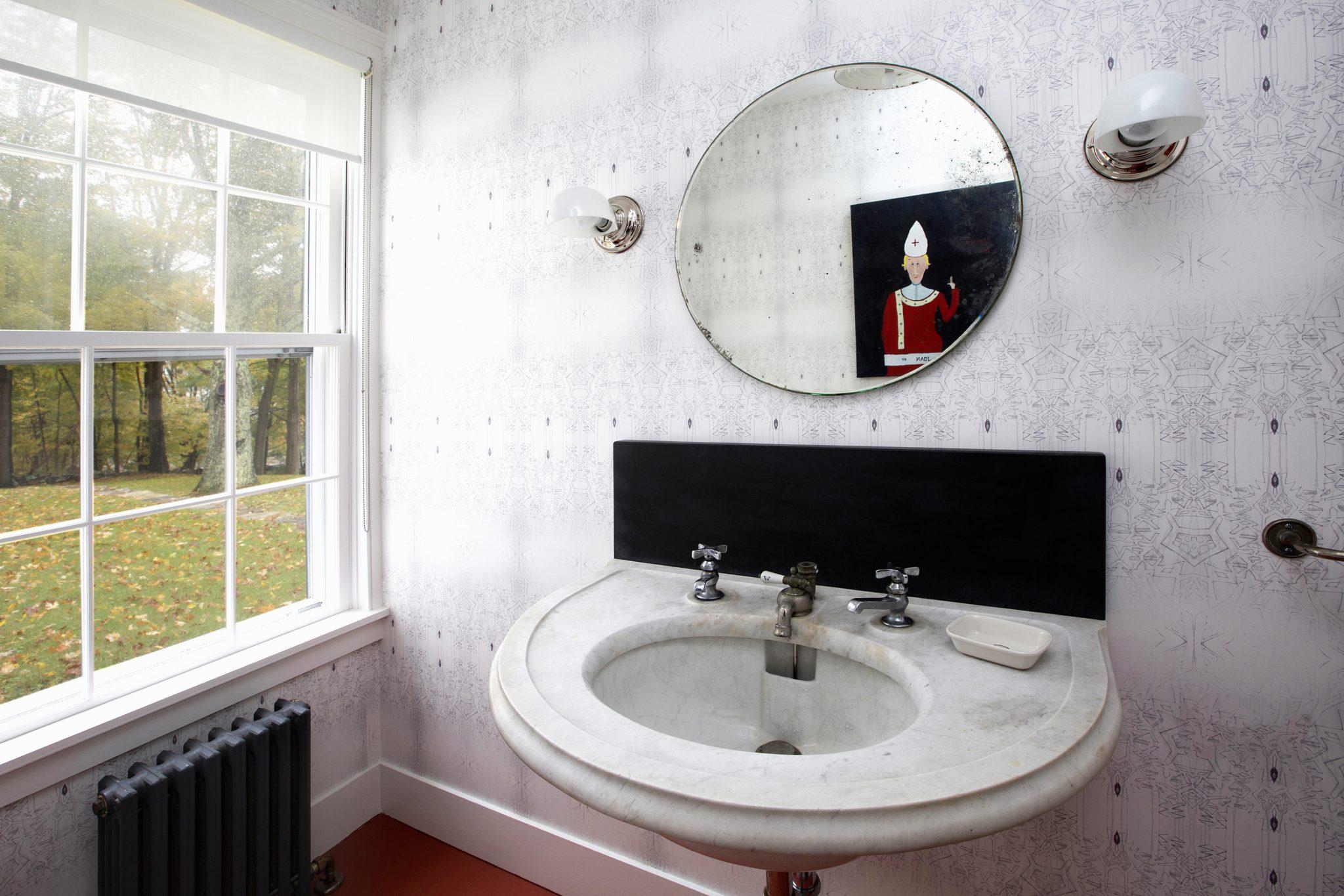 Connecticut Farmhouse, Modern Bathroom, Marble sink, Wallpaper by Douglas C. Wright Architects
