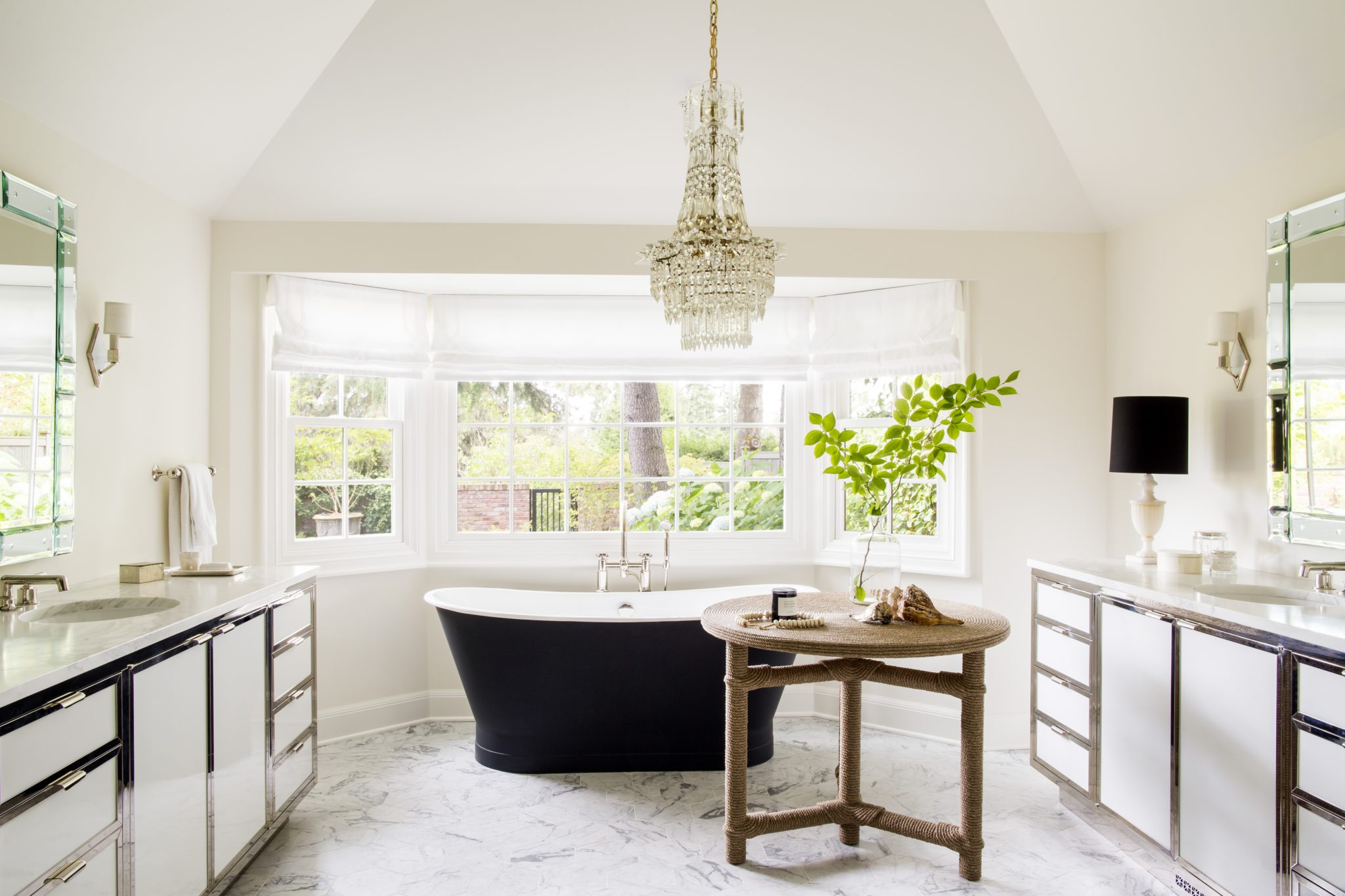 Seattle master bath with Afriba side table by Christian Astuguevielle. By Nate Berkus Associates