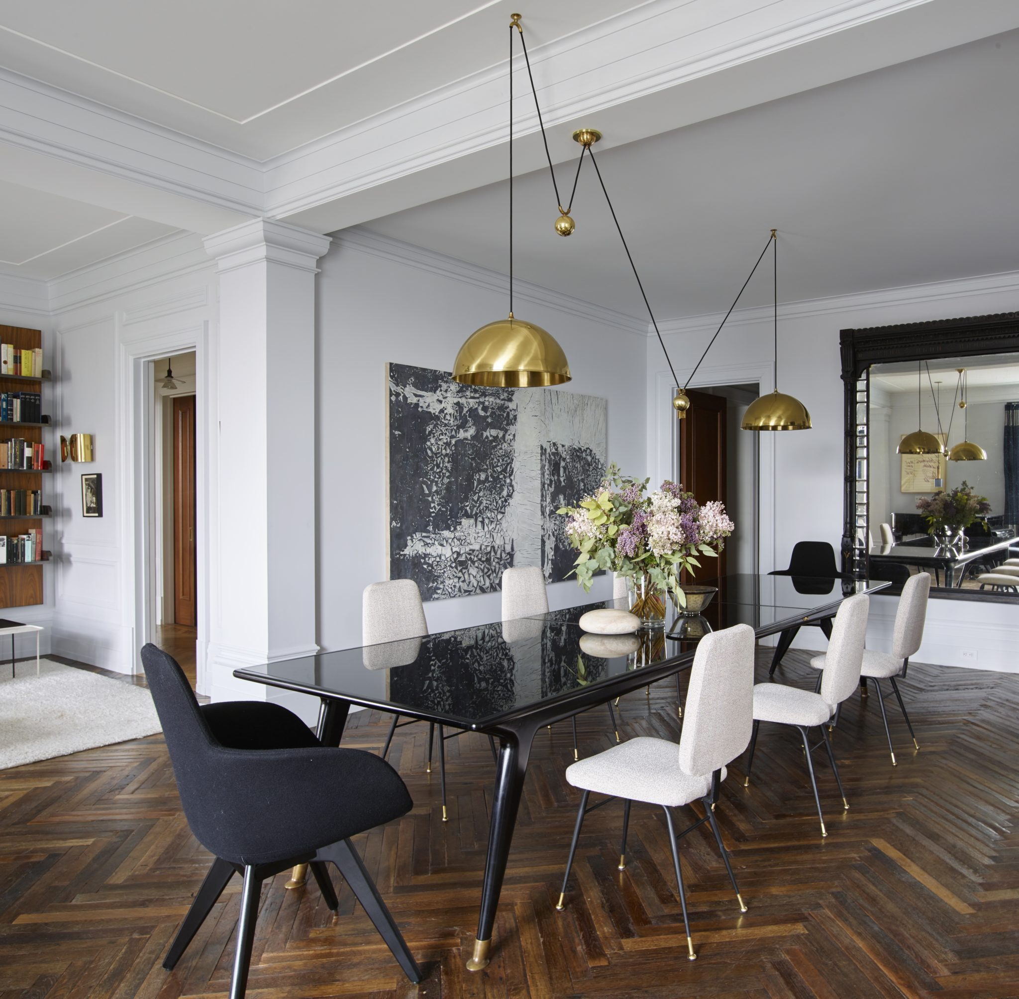 Central Park Apartment, Modern, White Dining Room, Gold Lamps by Douglas C. Wright Architects