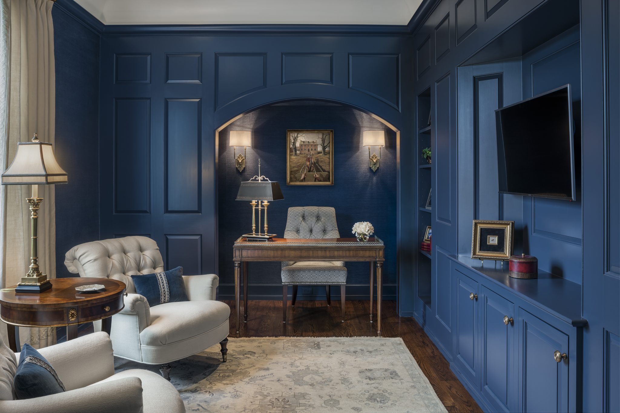 Colby's Run, Study with Blue Lacquer Walls and Alcove by Archer & Buchanan Architecture
