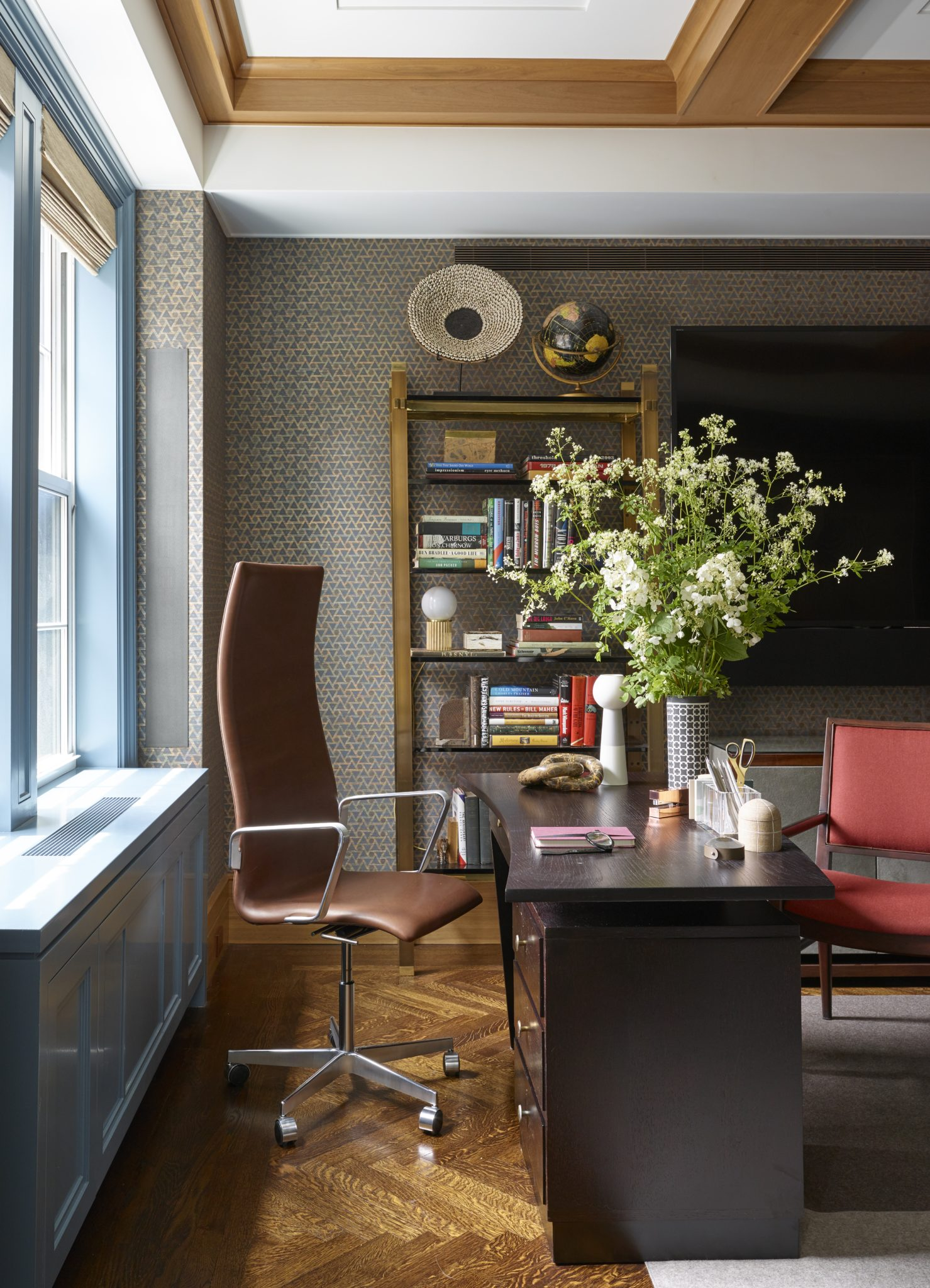 West Side Apartment, Modern Home Office, Wallpaper, Neutral Palette by Douglas C. Wright Architects