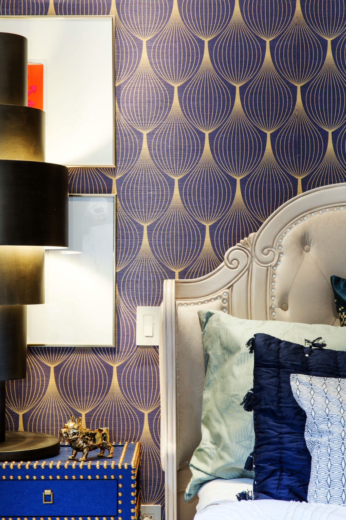 Grand Master Bedroom with custom gold foiled wallpaper. by designs by human.