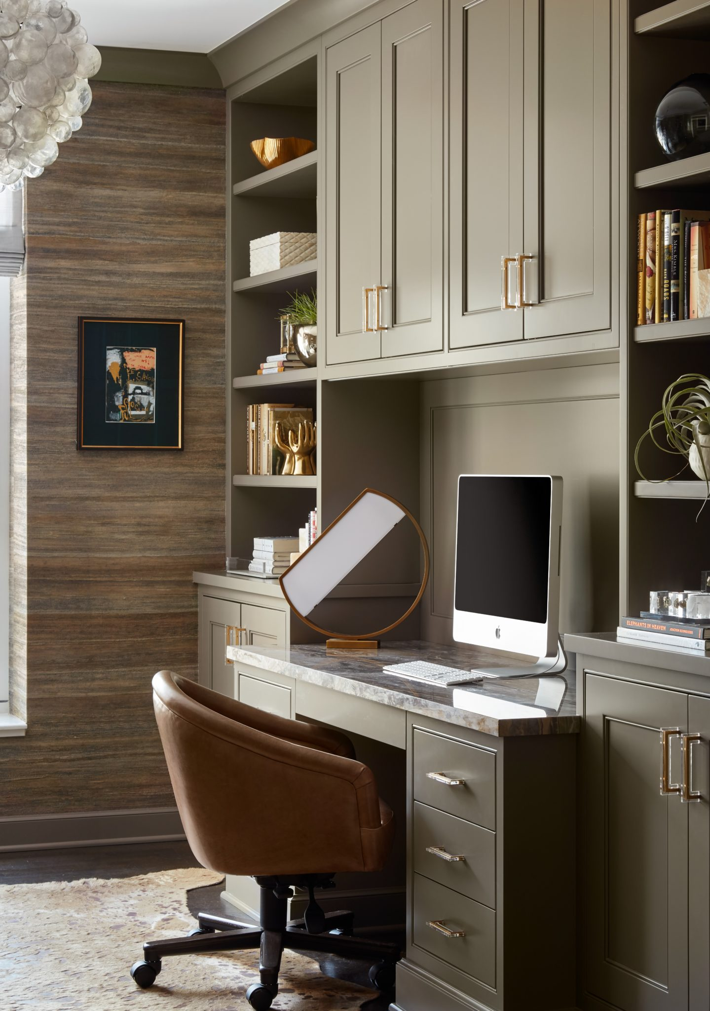 Well Read | Stylish Workspace with Natural Textured Wallcovering & Gold Accents by Laurie Demetrio Interiors