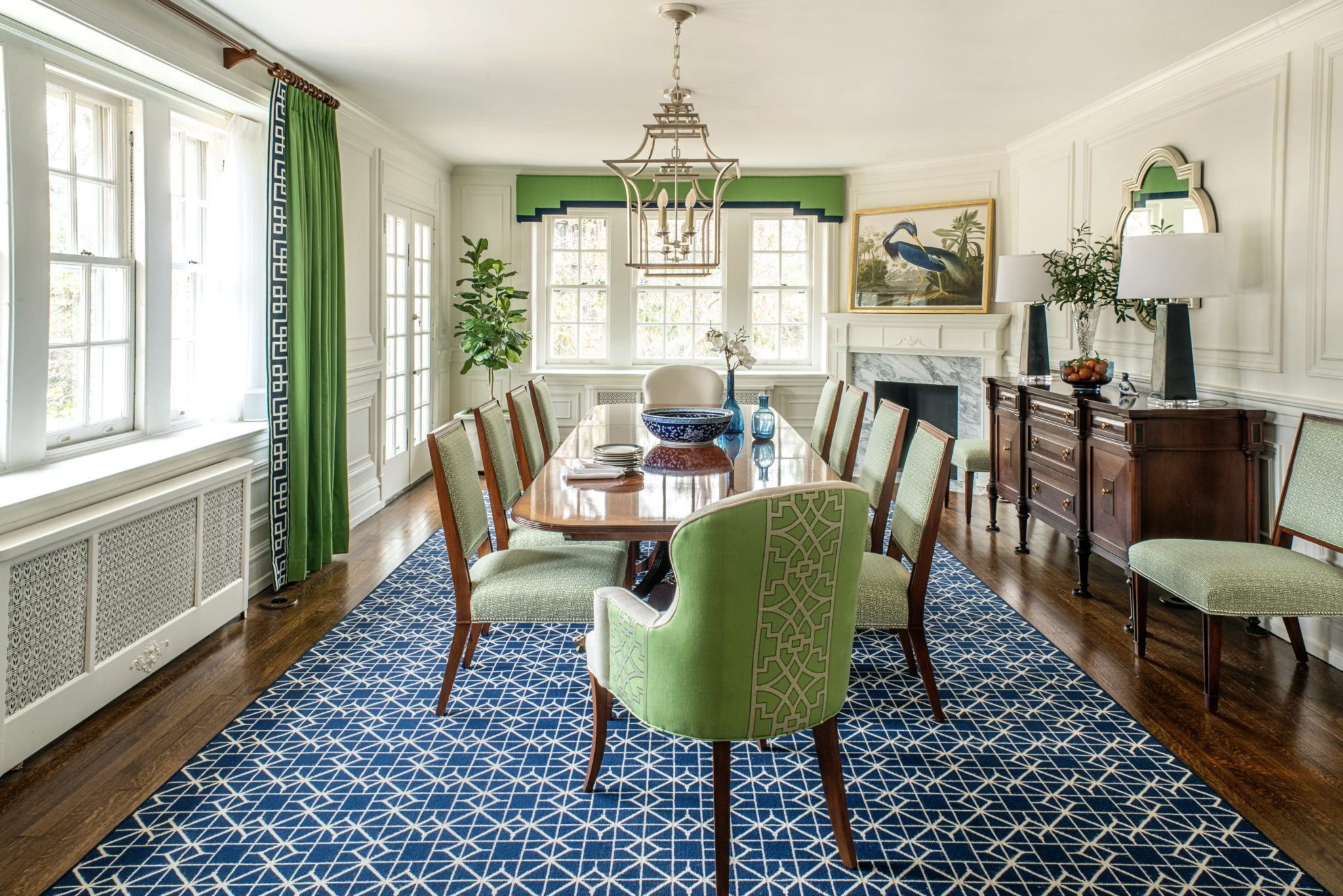 Classic Colors meet Bold Pattern in Historic Home's Dining Room by Michele Plachter Design