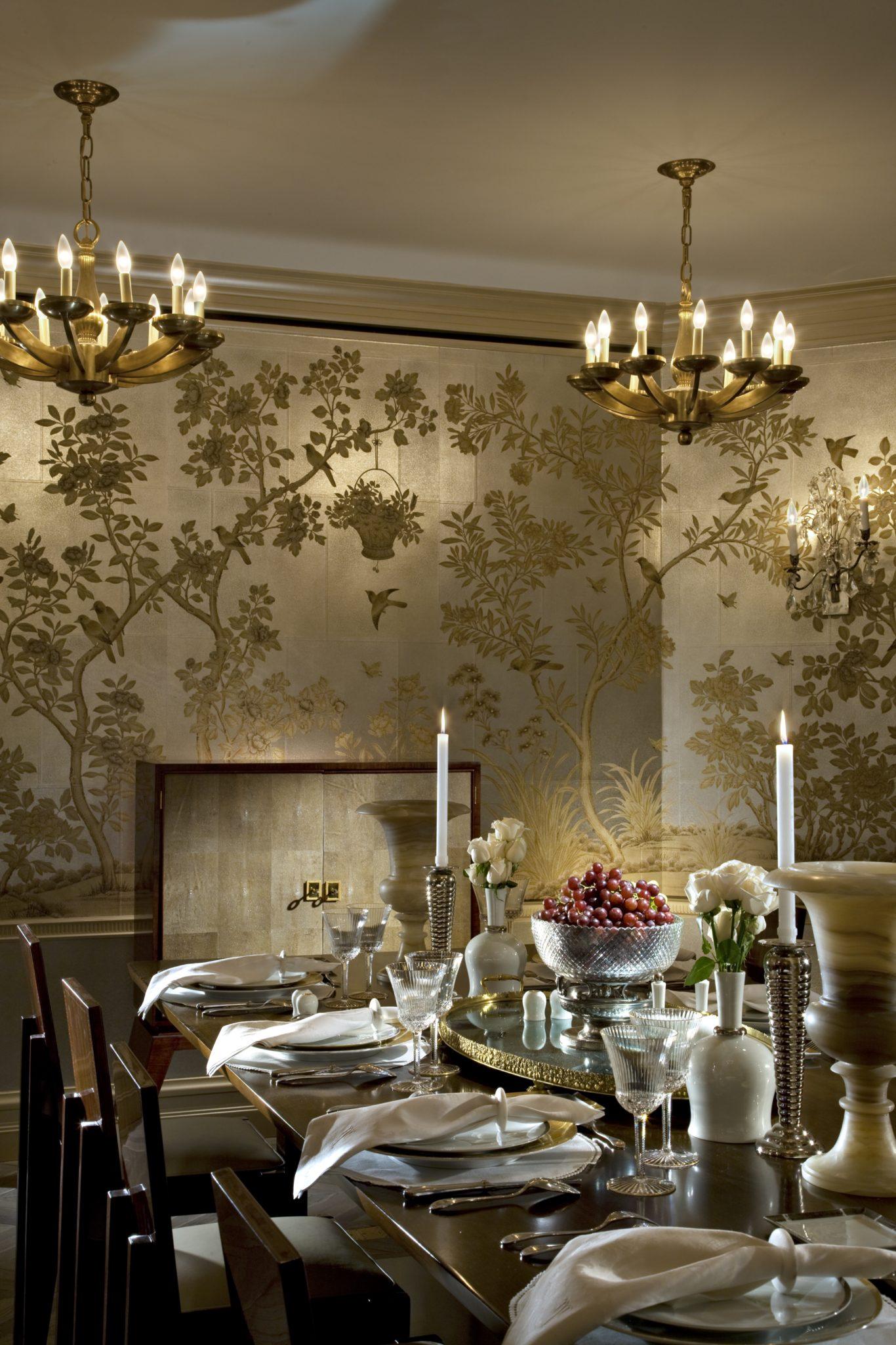 gracie wallpaper so versatile with contemporary furniture by Penny Drue Baird - Dessins LLC