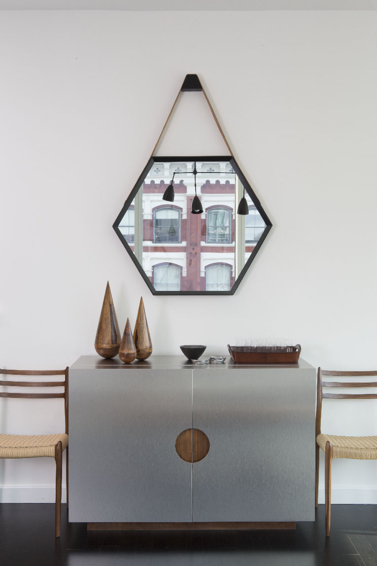 Astor Place/Custom Bar Cabinet/Modern Mirror/Mid Century Chairs by J. PATRYCE DESIGN