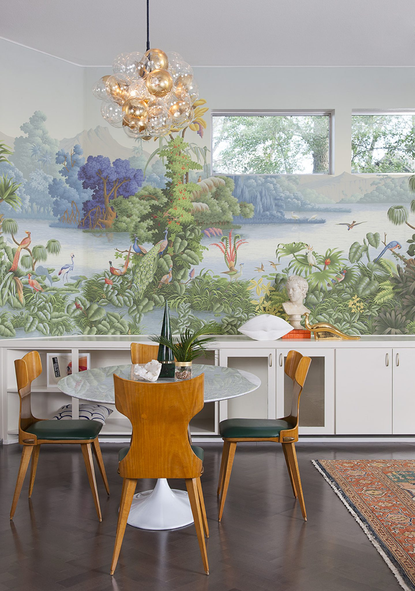Tropical + Mid-Century Modern Dining Room by Maureen Stevens Design
