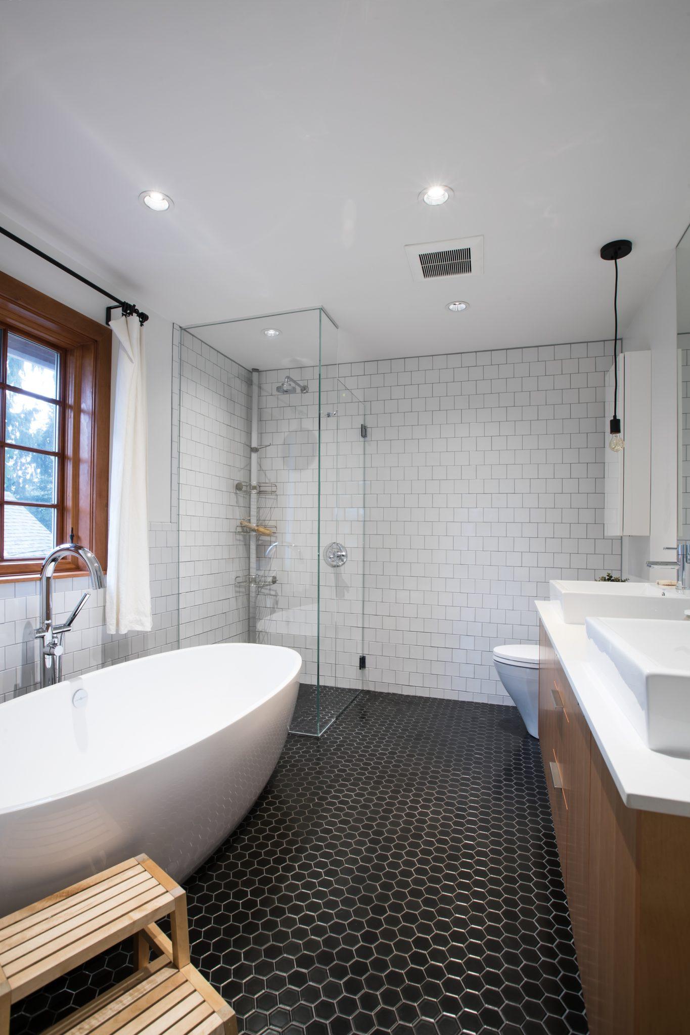Tempe Heights residence - master bathroom with no-threshold shower by Corey Klassen Interior Design