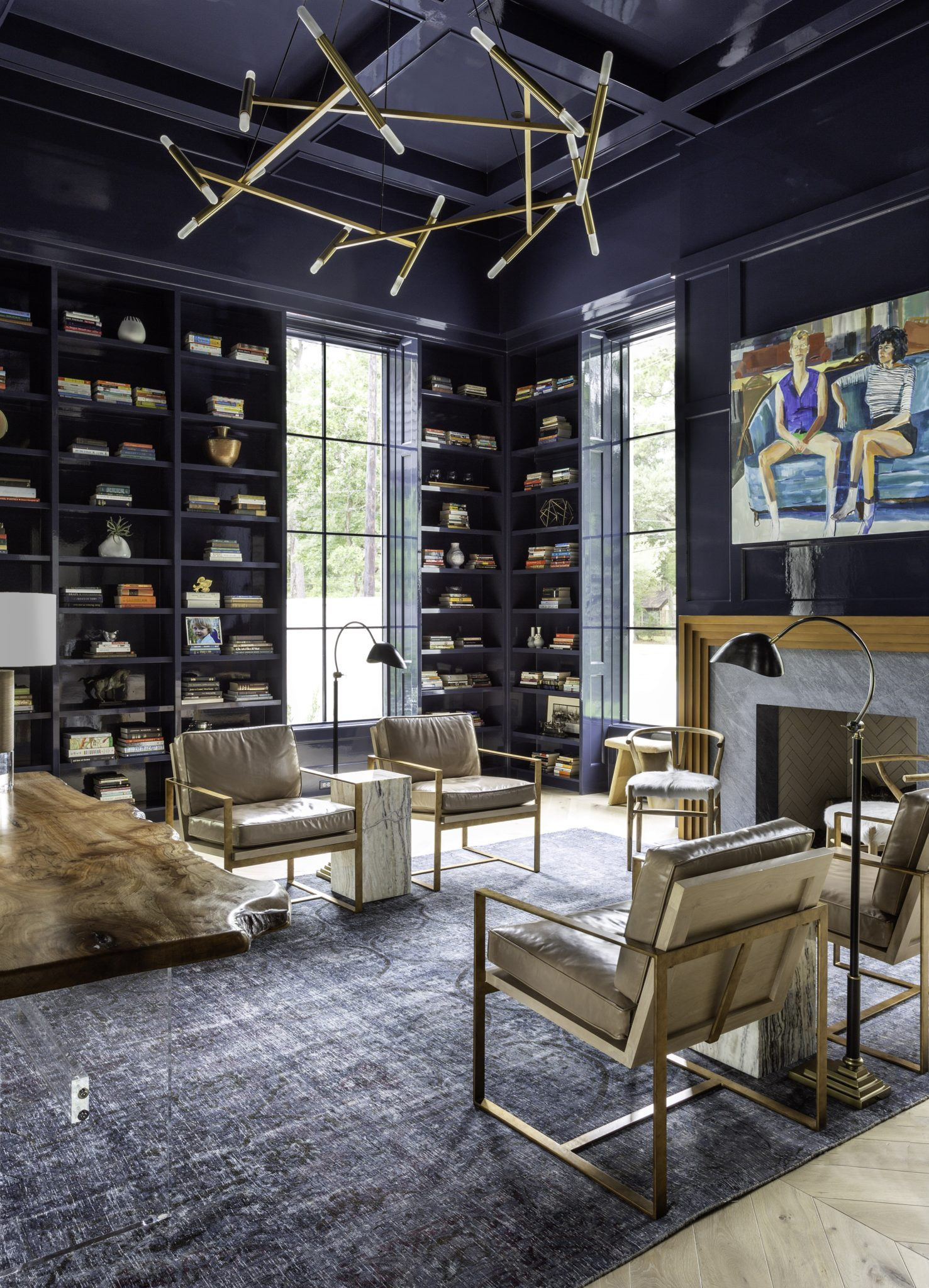 Blue Lacquer Home Office by Talbot Cooley