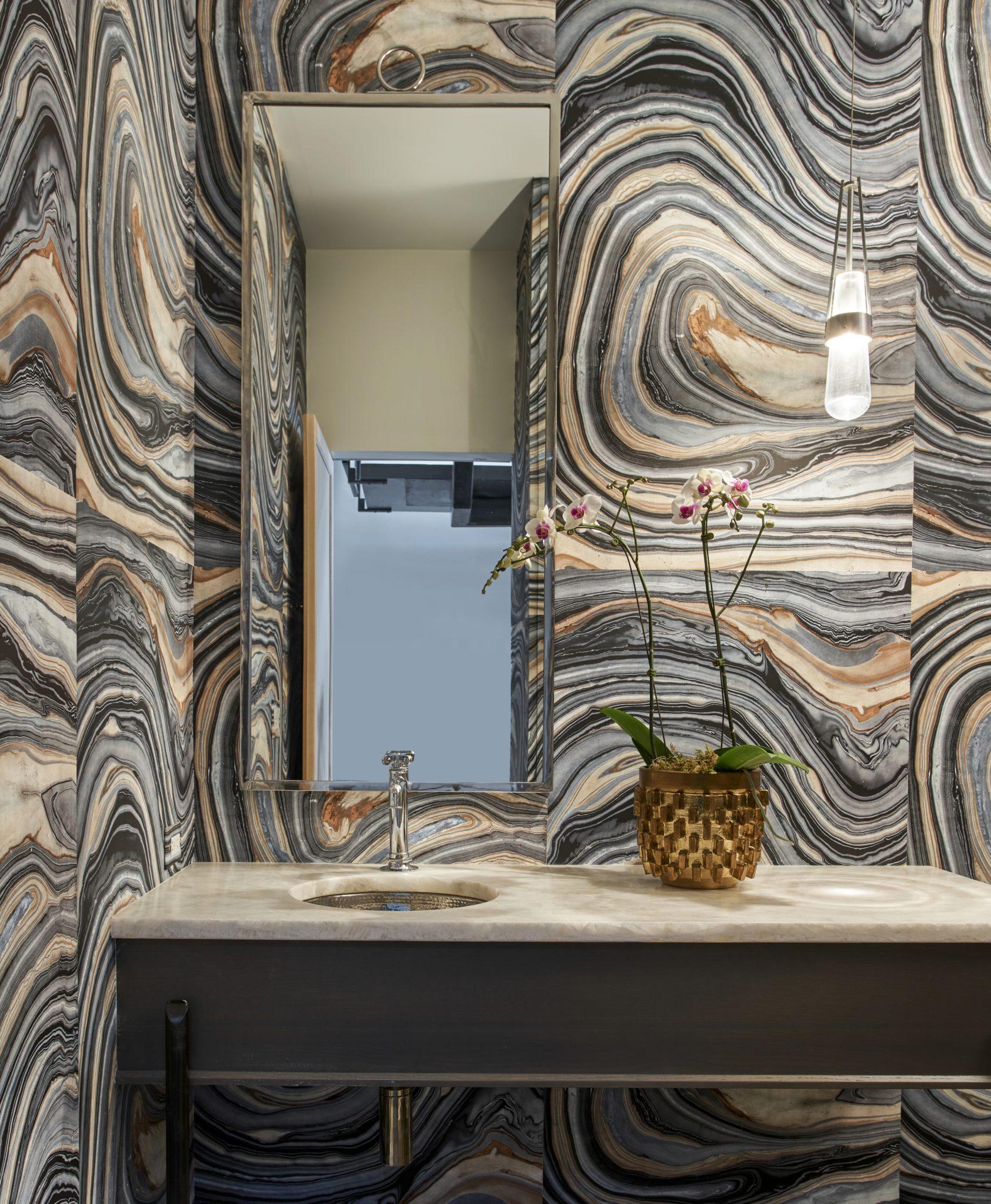 Ukrainian Village townhouse powder room with stunning, earthy wallpaper. by Elizabeth Krueger Design