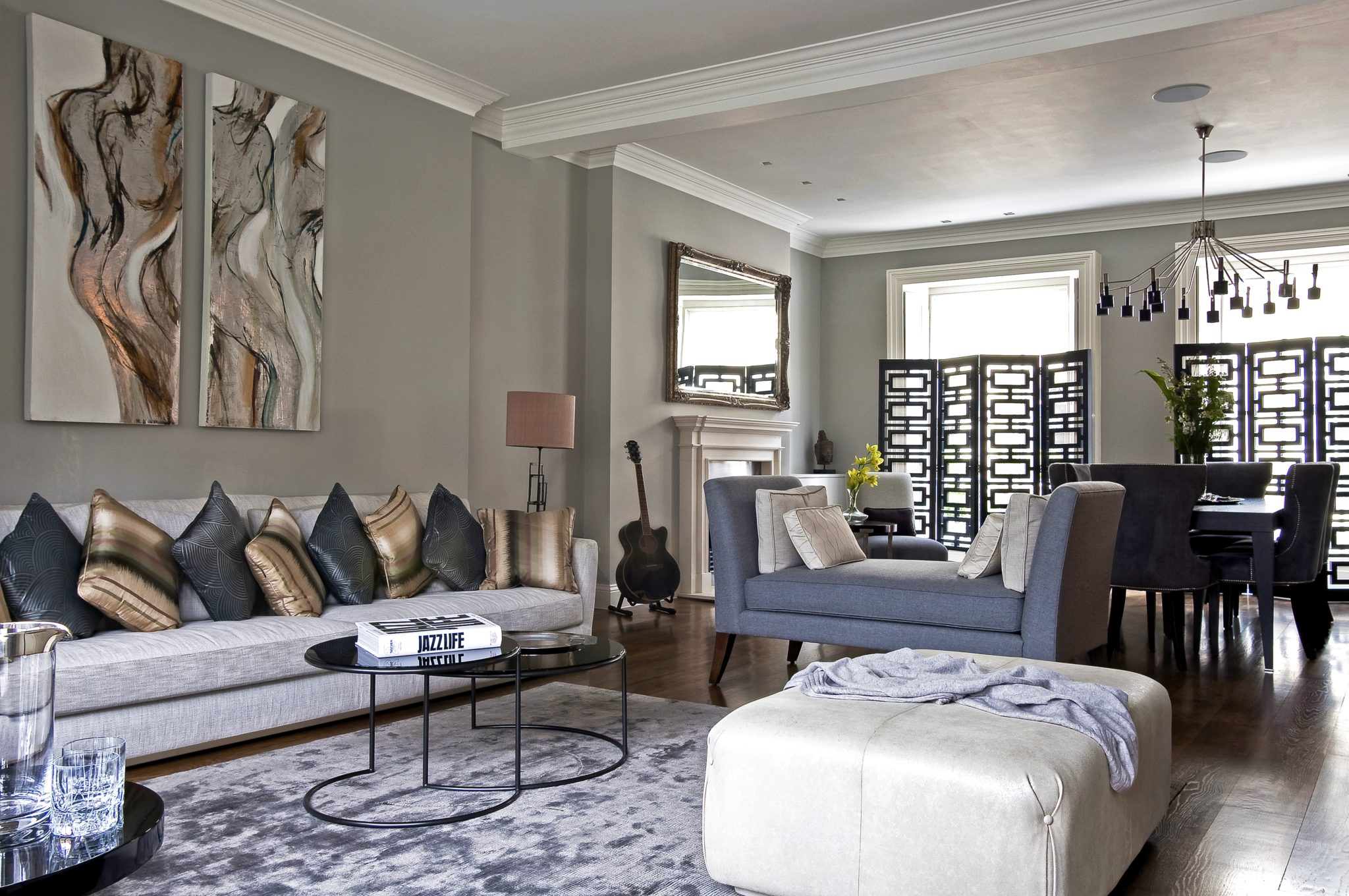 Hyde Park townhouse: open formal dining and living room by KNOF design