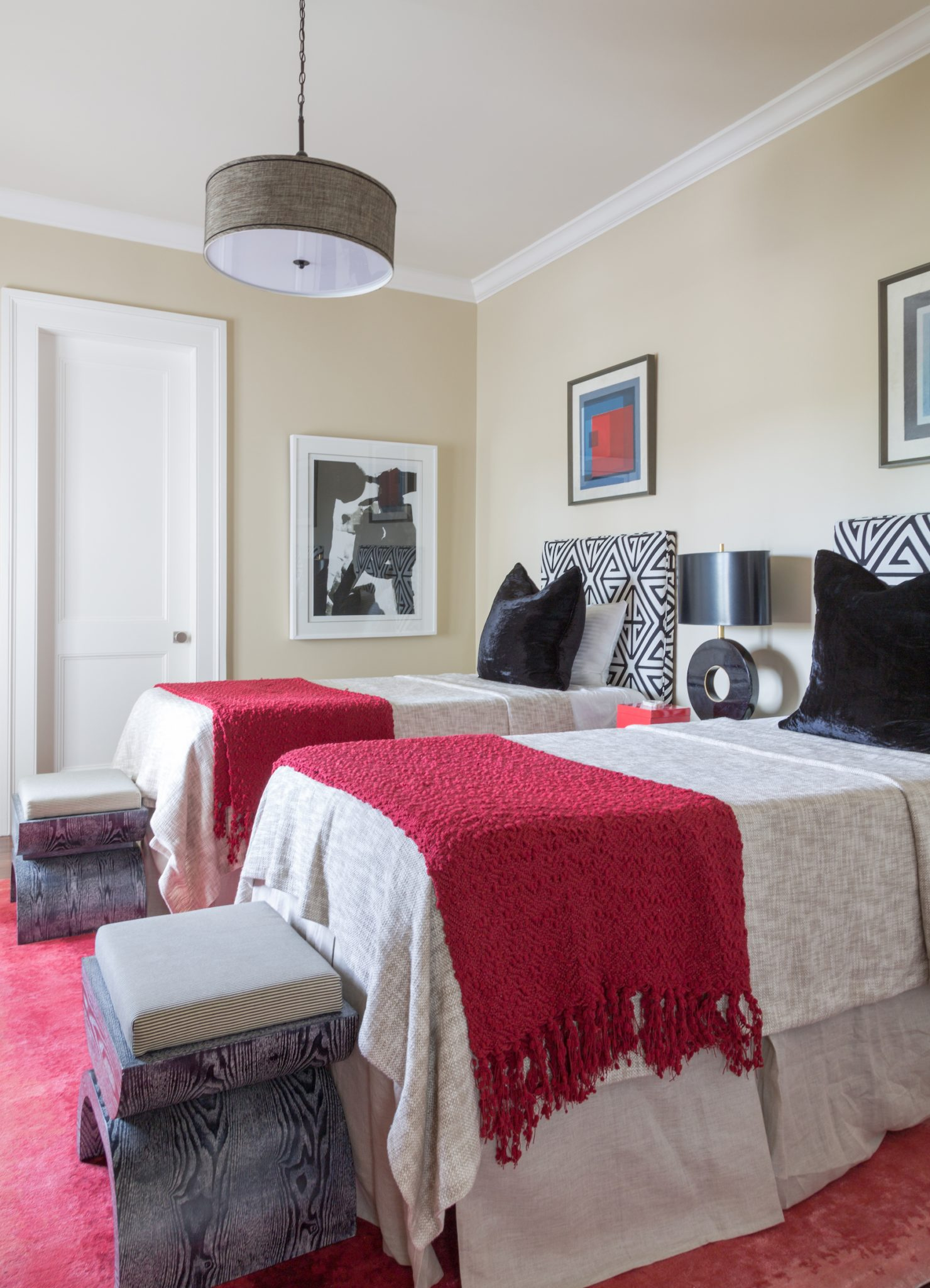 New Orleans Uptown Guest Bedroom with custom Thibaut twin headboards by Eclectic Home