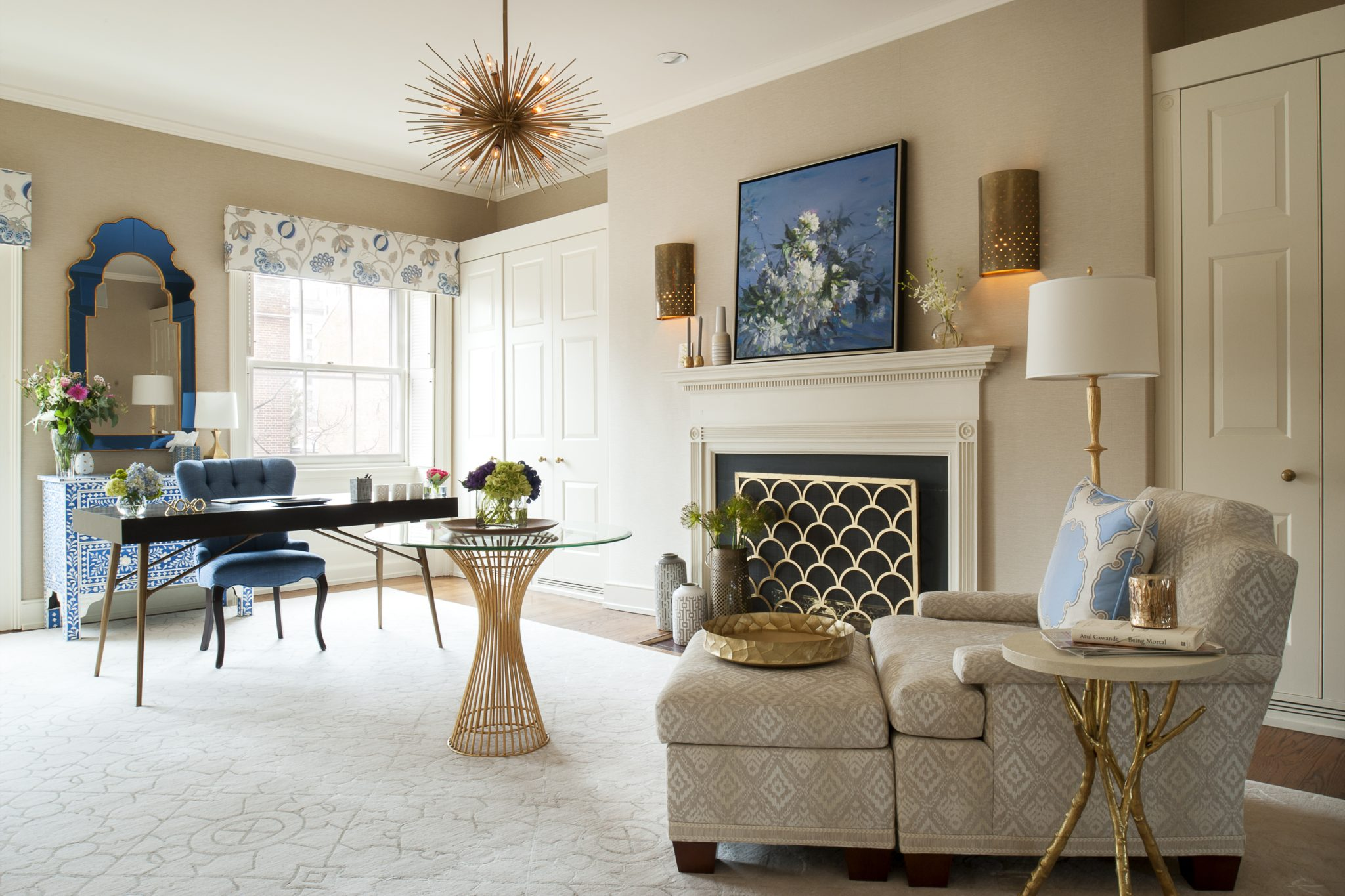 Glamourous and Sophisticated Home Office with gold and french blue accents by Michele Plachter Design