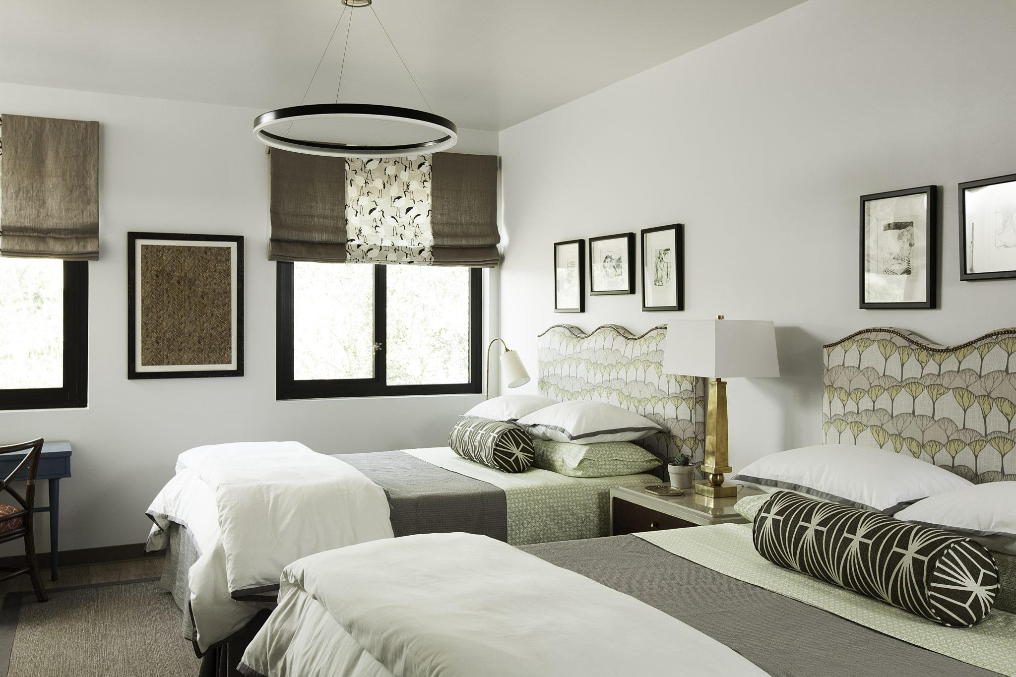 "Ronald McDonald House, Stanford, ""Where Hope Has a Home"" project, Twin Bedroom. by Melinda Mandell Interior Design"