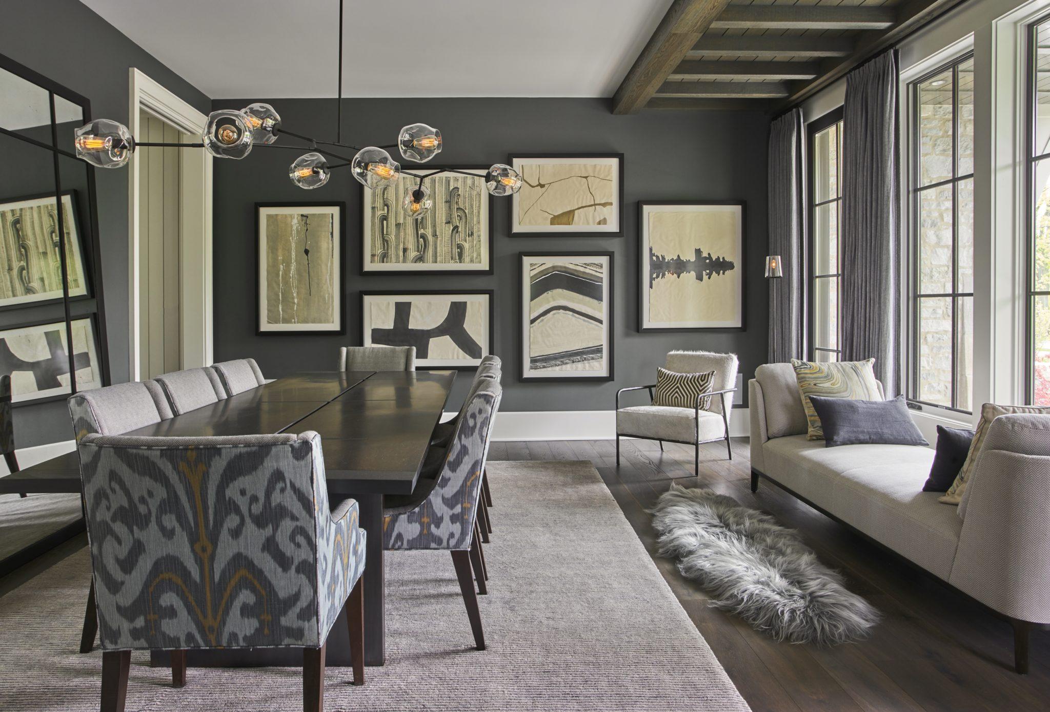 Posh, elegant, and subtly sophisticated dining room by Elizabeth Krueger Design