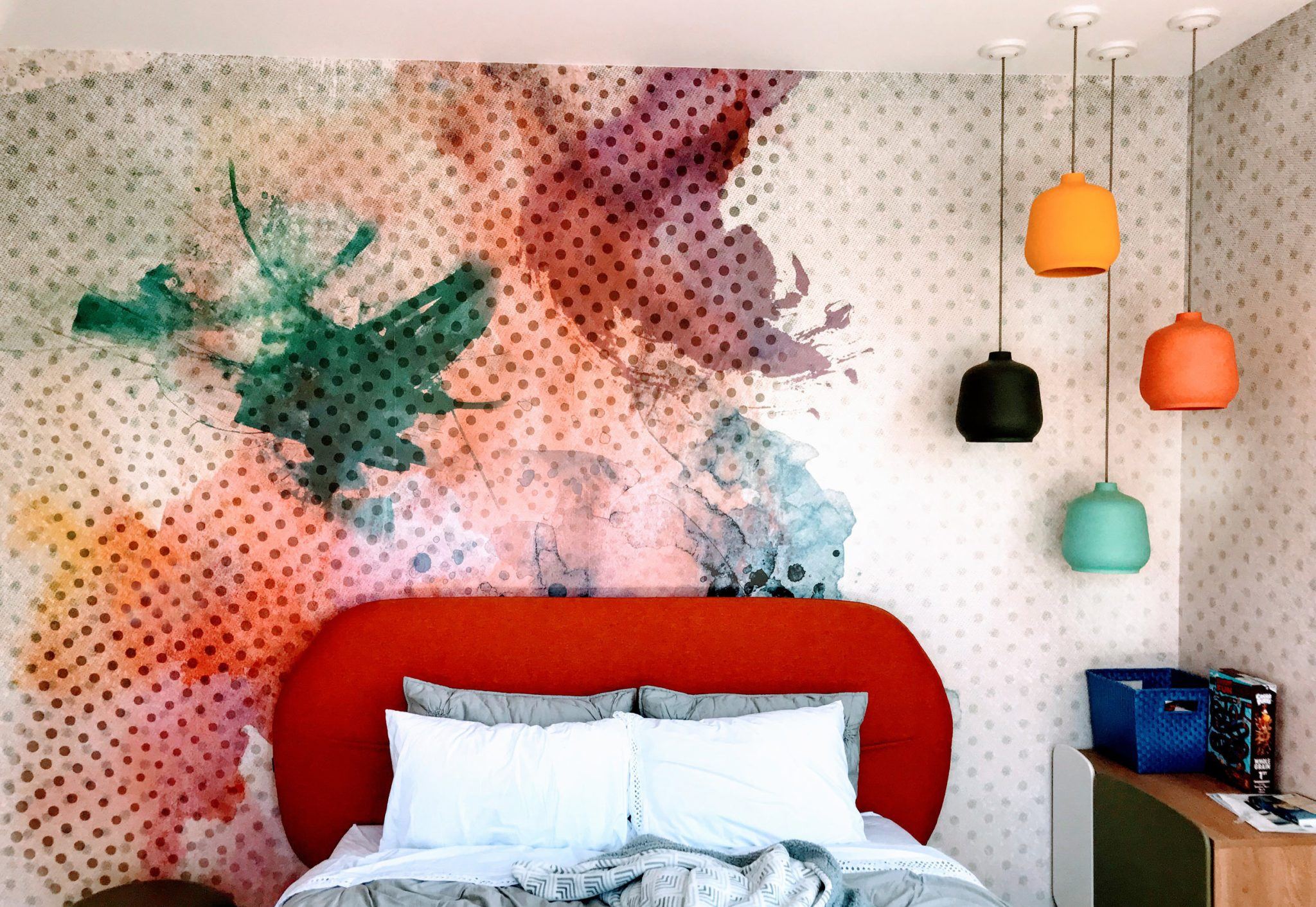 Hillsborough hills new construction. Kid bedroom with mural wallpaper. by Isolina Mallon Interiors