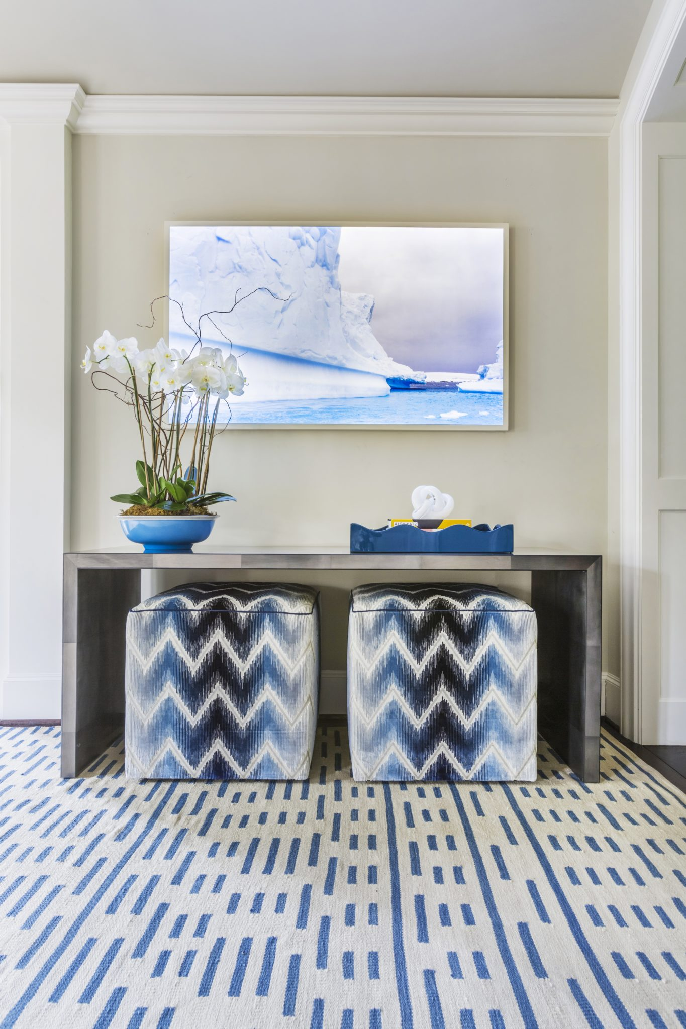Foyer with Color and Pattern by Lucas Eilers Design Associates, LLP