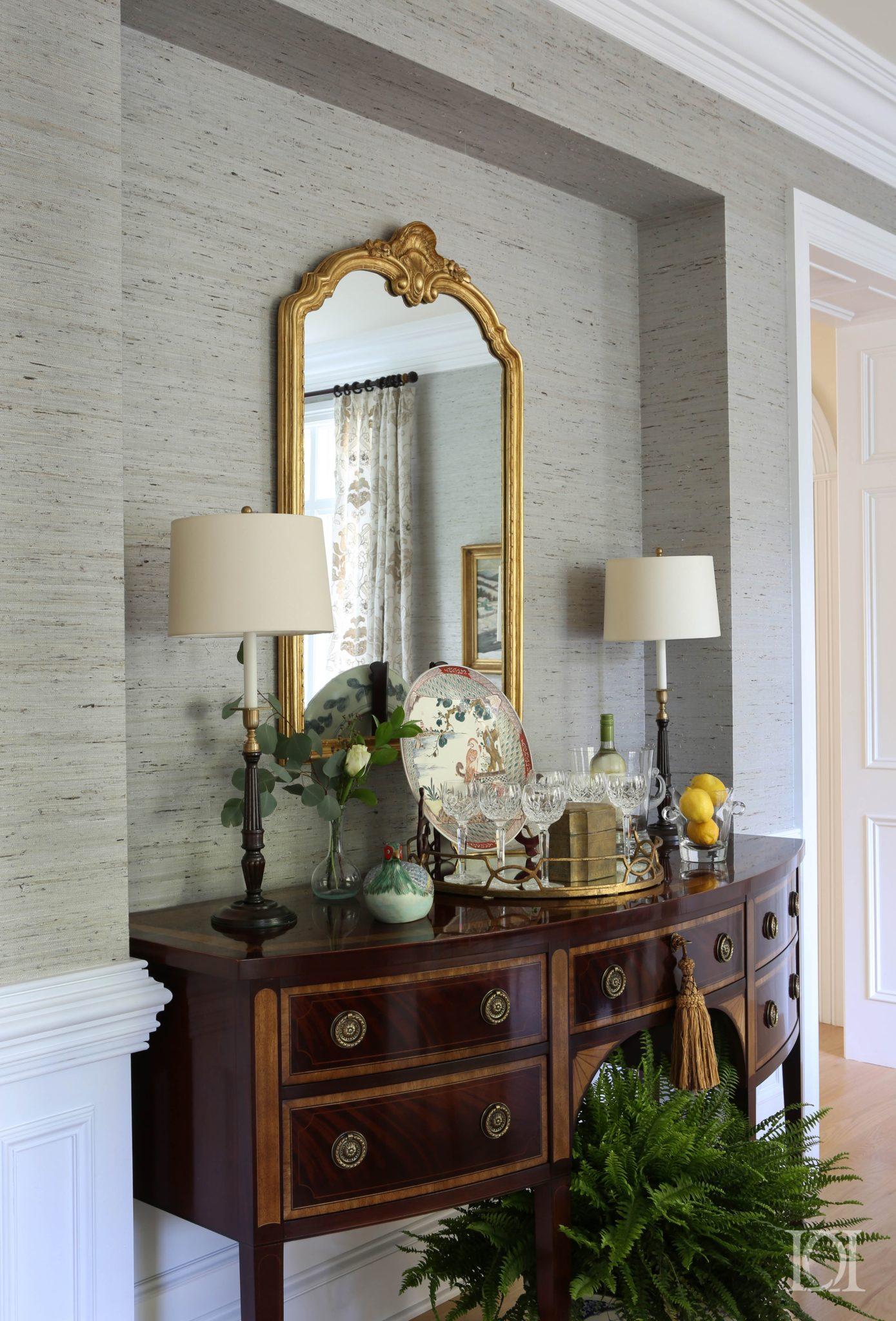 Cradle Rock Dining room detail sideboard with Mirror by Deborah Leamann Interior Design