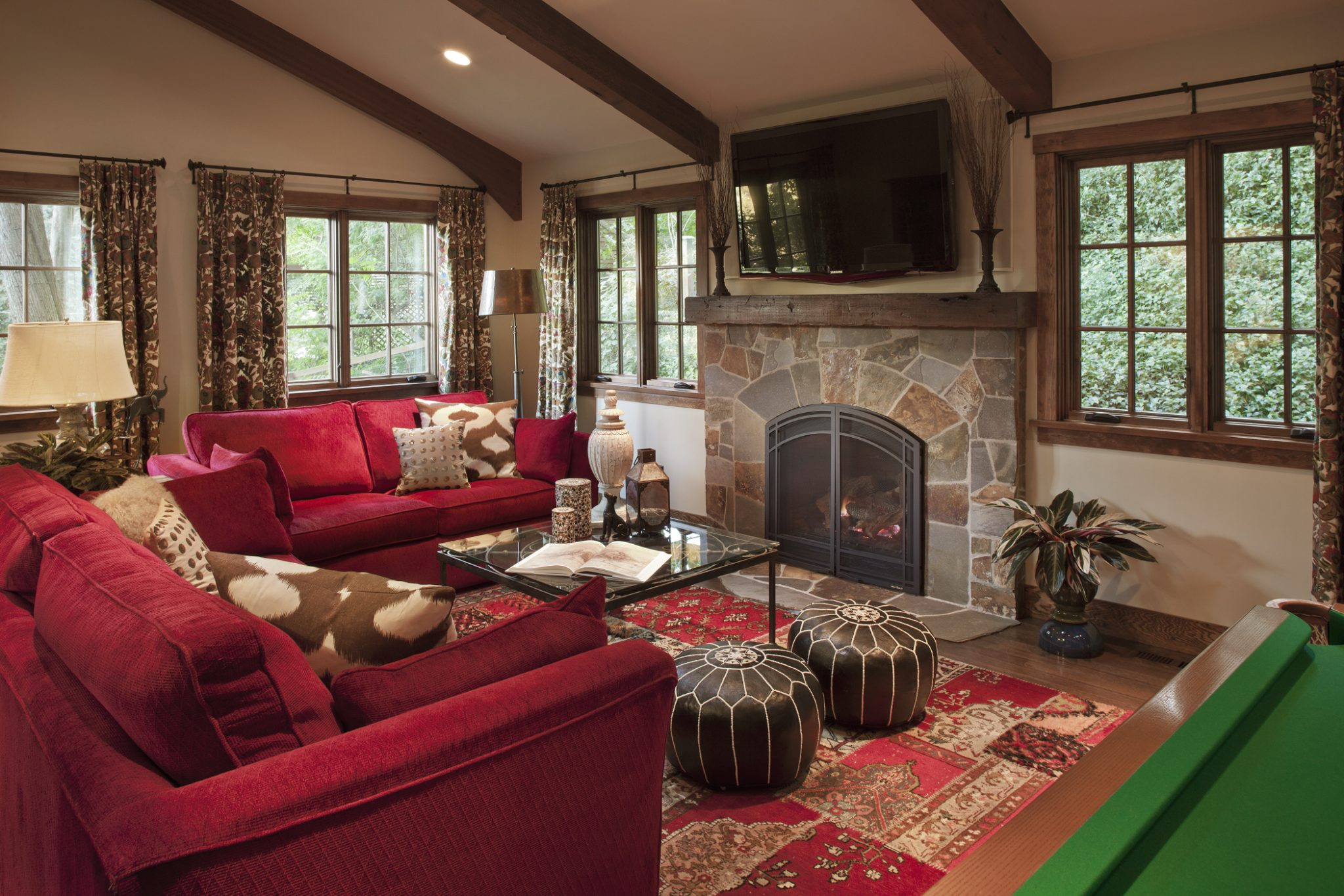 Rustic Guest House Family Room by Suzanne Childress Design