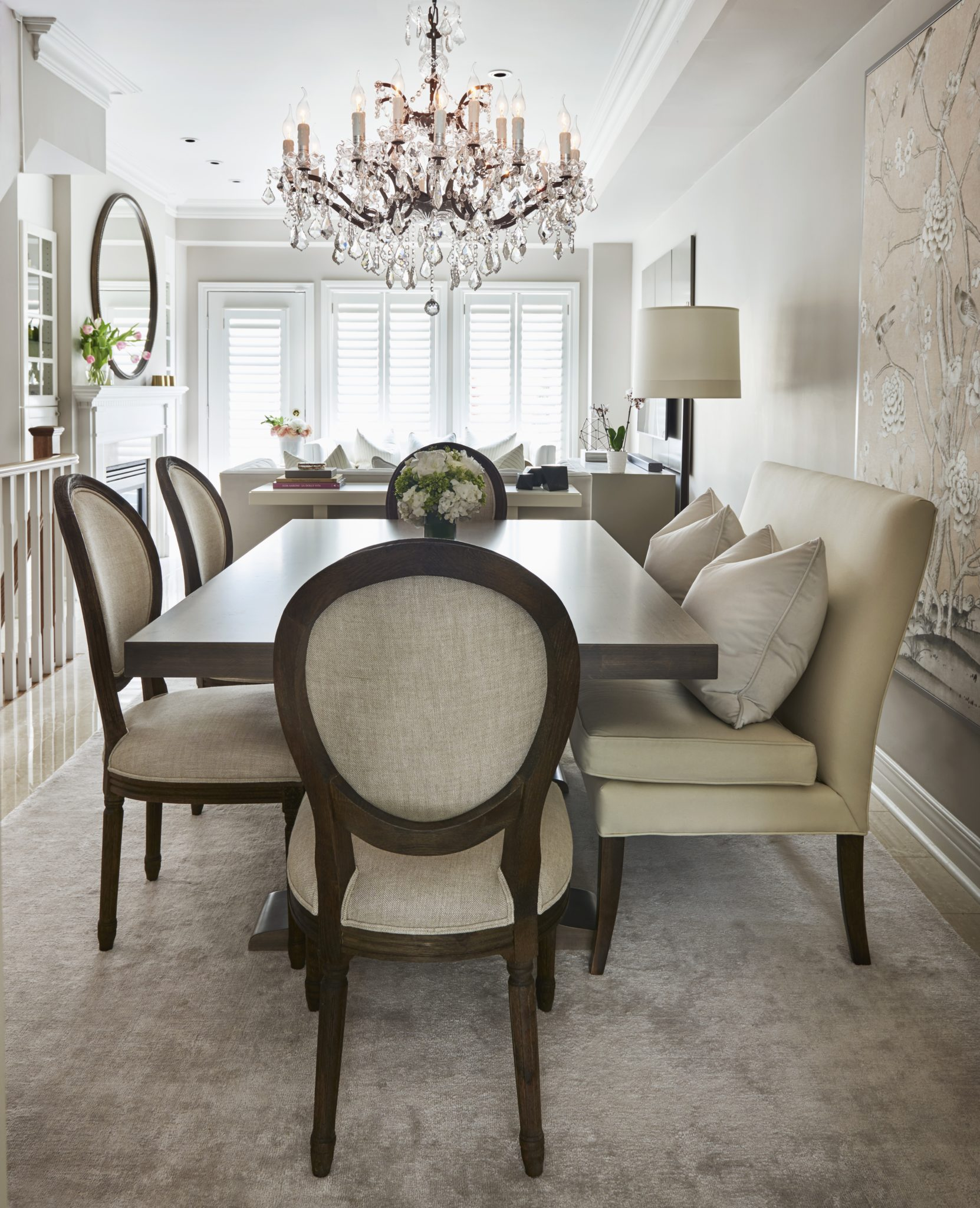 Grand Harbour residence - living and dining room open concept floor plan by Alyssa Colagiacomo Interiors