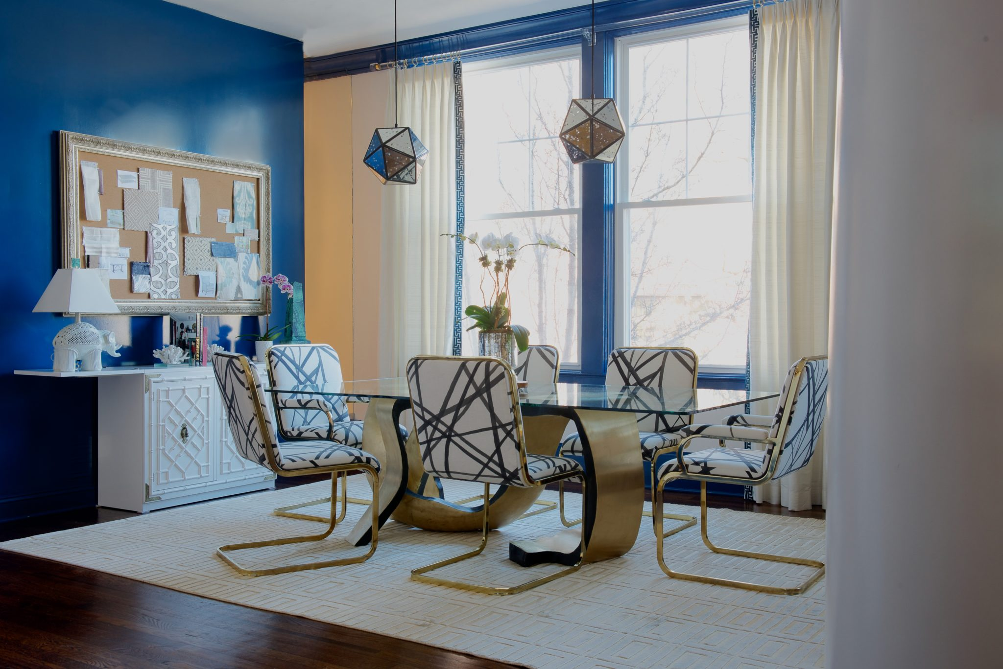 """Rajni Alex Design   Scarsdale, New York   """"My vision for the office was to have a studio with an eclectic vibe mixed in with edgy style. Our studio needed to be warm, welcoming, but above all, very memorable. I wanted to create a space that had the 'wow'factor, so that when the clients walked in they would know right away what my style is, and what we can do for them.""""  — Rajni Alex, Rajni Alex Design"""